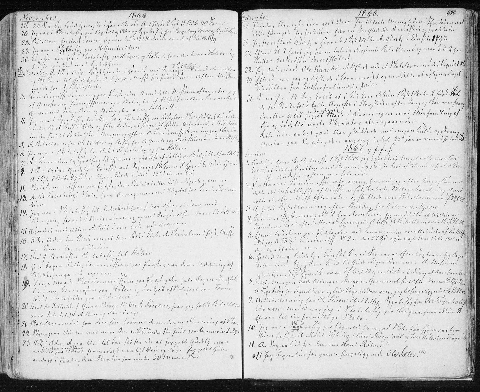 SAT, Ministerialprotokoller, klokkerbøker og fødselsregistre - Sør-Trøndelag, 678/L0899: Ministerialbok nr. 678A08, 1848-1872, s. 696
