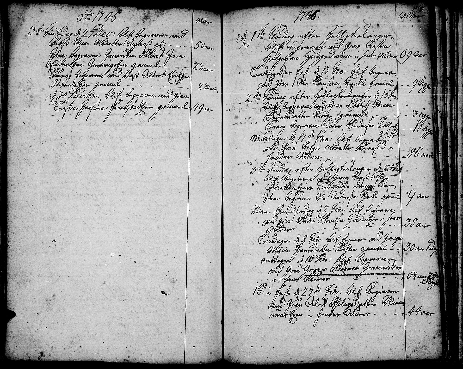 SAH, Gran prestekontor, Ministerialbok nr. 3, 1745-1758, s. 175