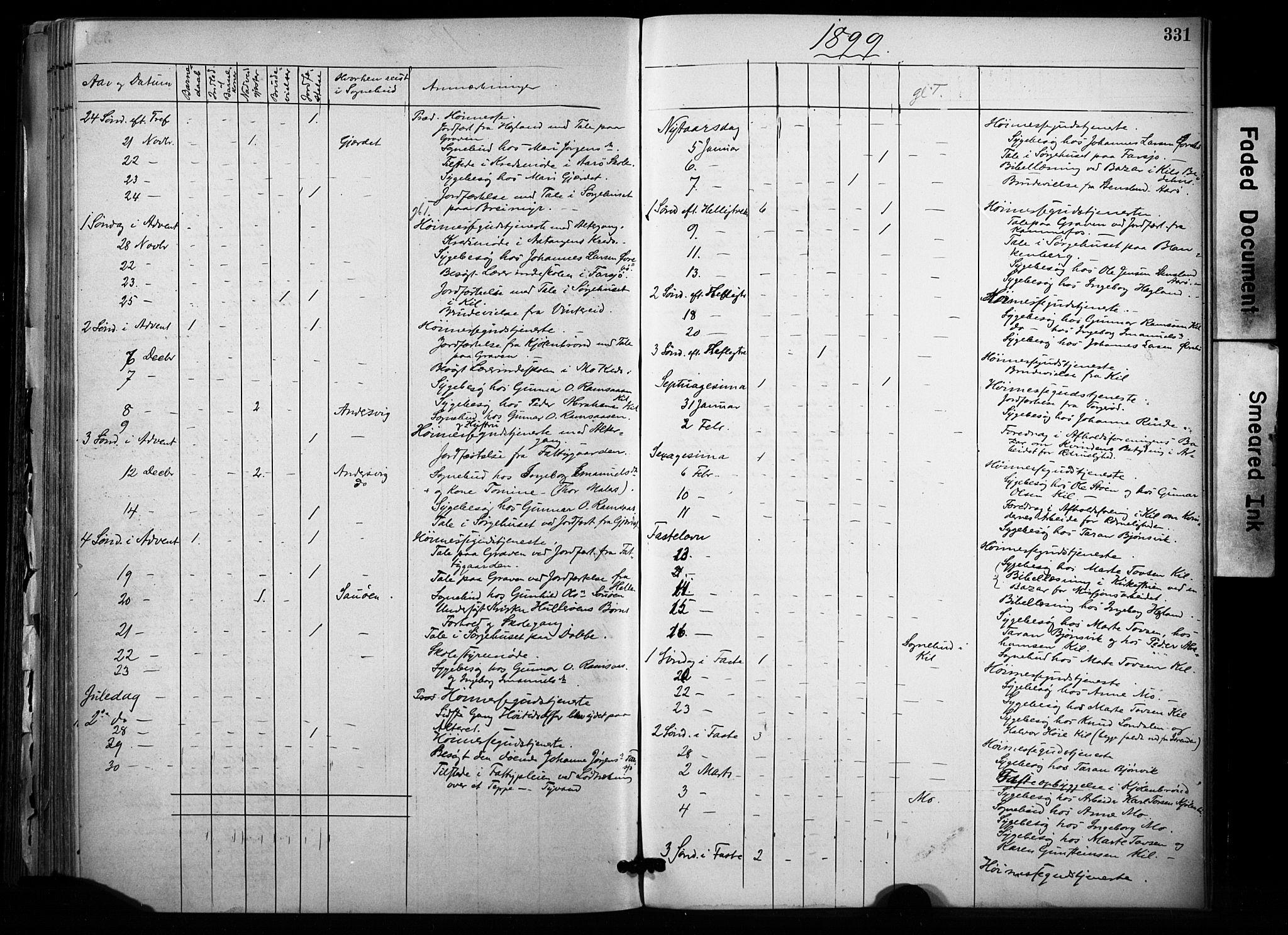 SAKO, Sannidal kirkebøker, F/Fa/L0015: Ministerialbok nr. 15, 1884-1899, s. 331
