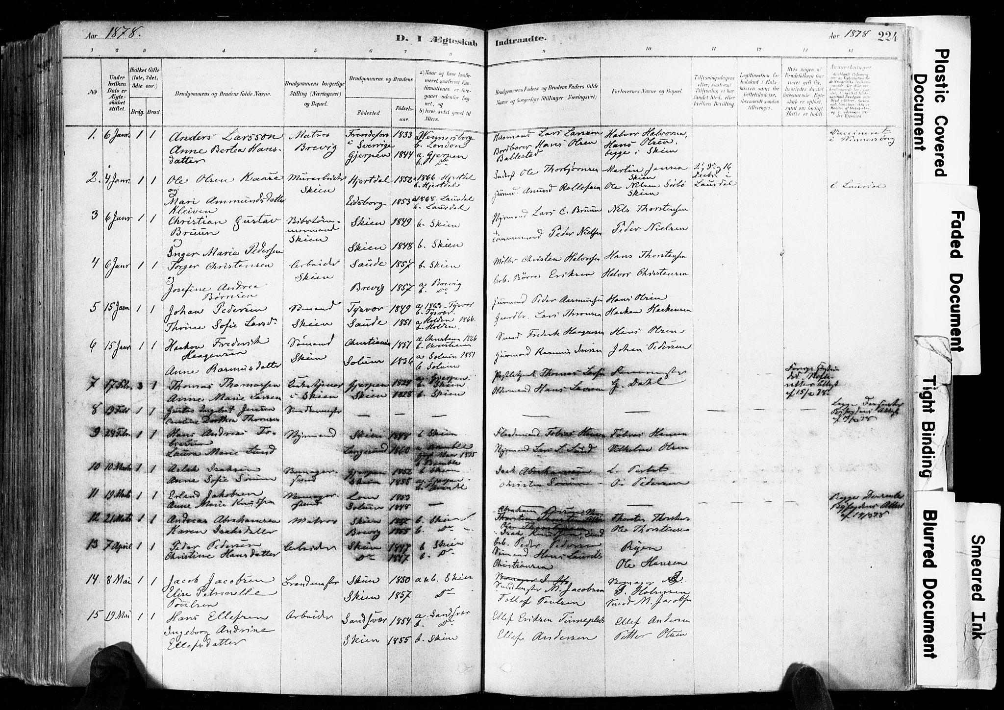 SAKO, Skien kirkebøker, F/Fa/L0009: Ministerialbok nr. 9, 1878-1890, s. 224