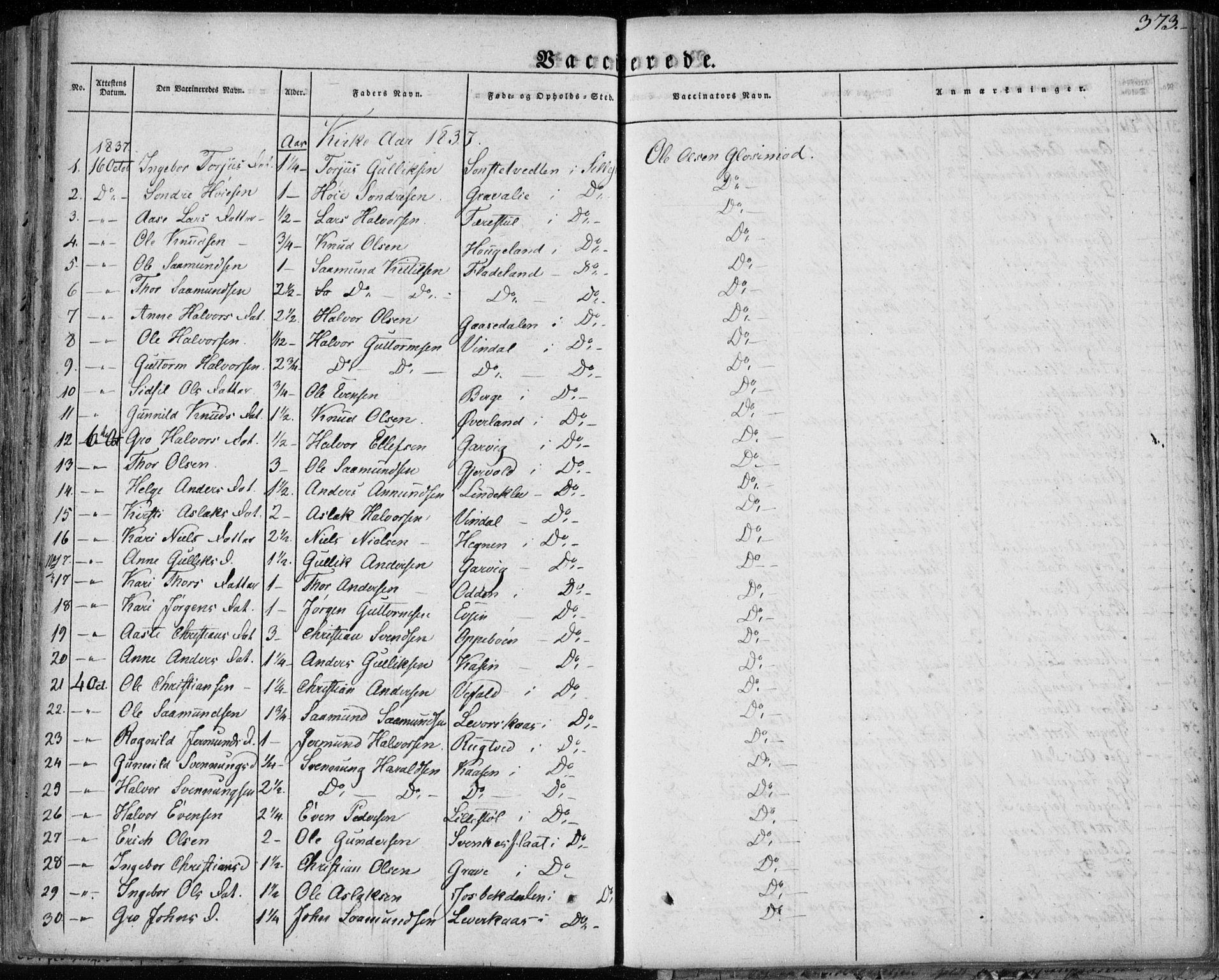 SAKO, Seljord kirkebøker, F/Fa/L0011: Ministerialbok nr. I 11, 1831-1849, s. 373