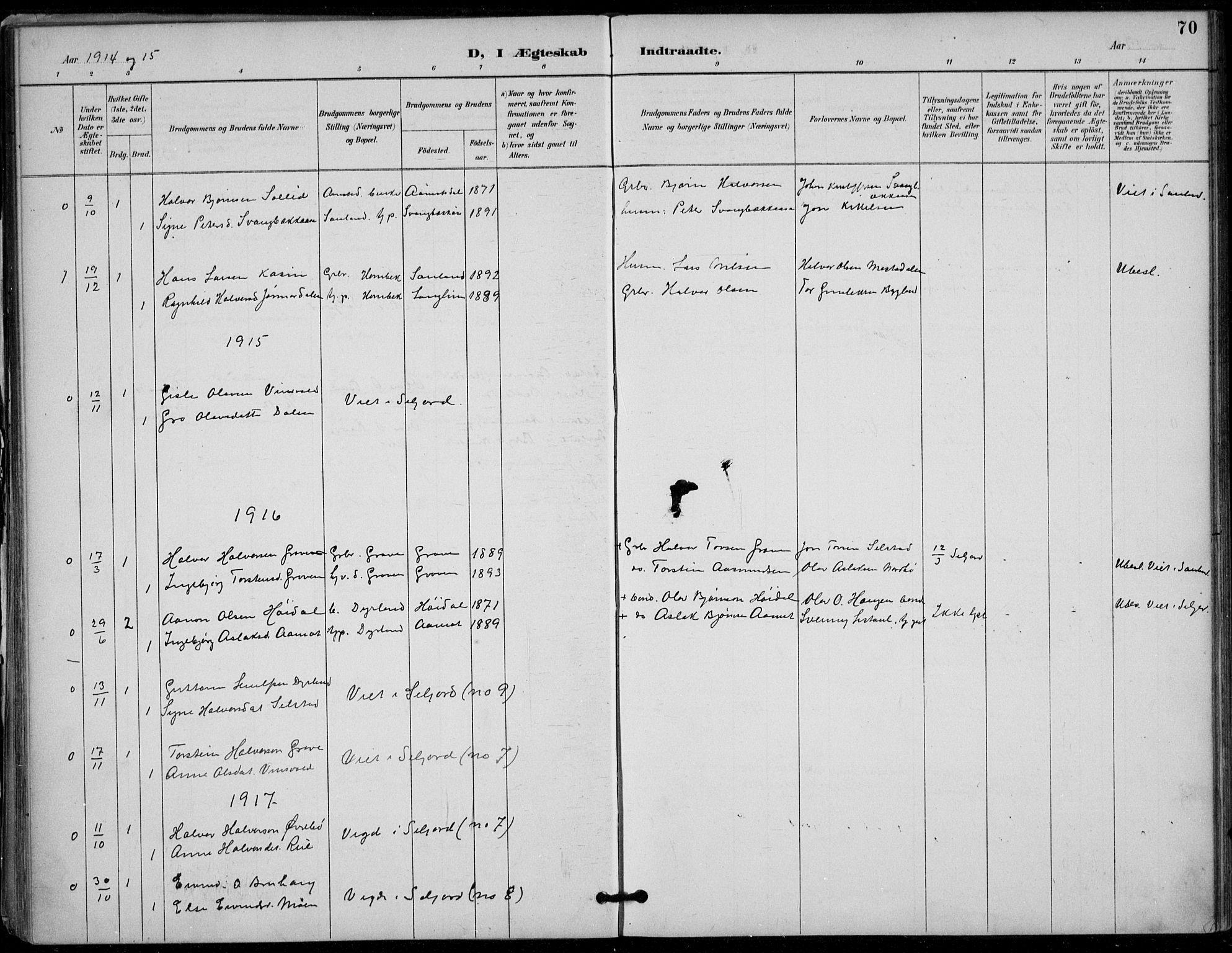 SAKO, Seljord kirkebøker, F/Fc/L0002: Ministerialbok nr. III 2, 1887-1920, s. 70