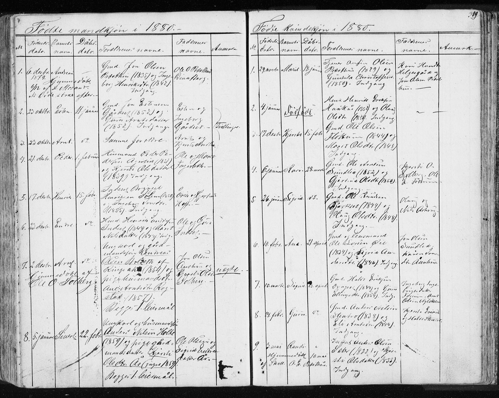 SAT, Ministerialprotokoller, klokkerbøker og fødselsregistre - Sør-Trøndelag, 689/L1043: Klokkerbok nr. 689C02, 1816-1892, s. 319