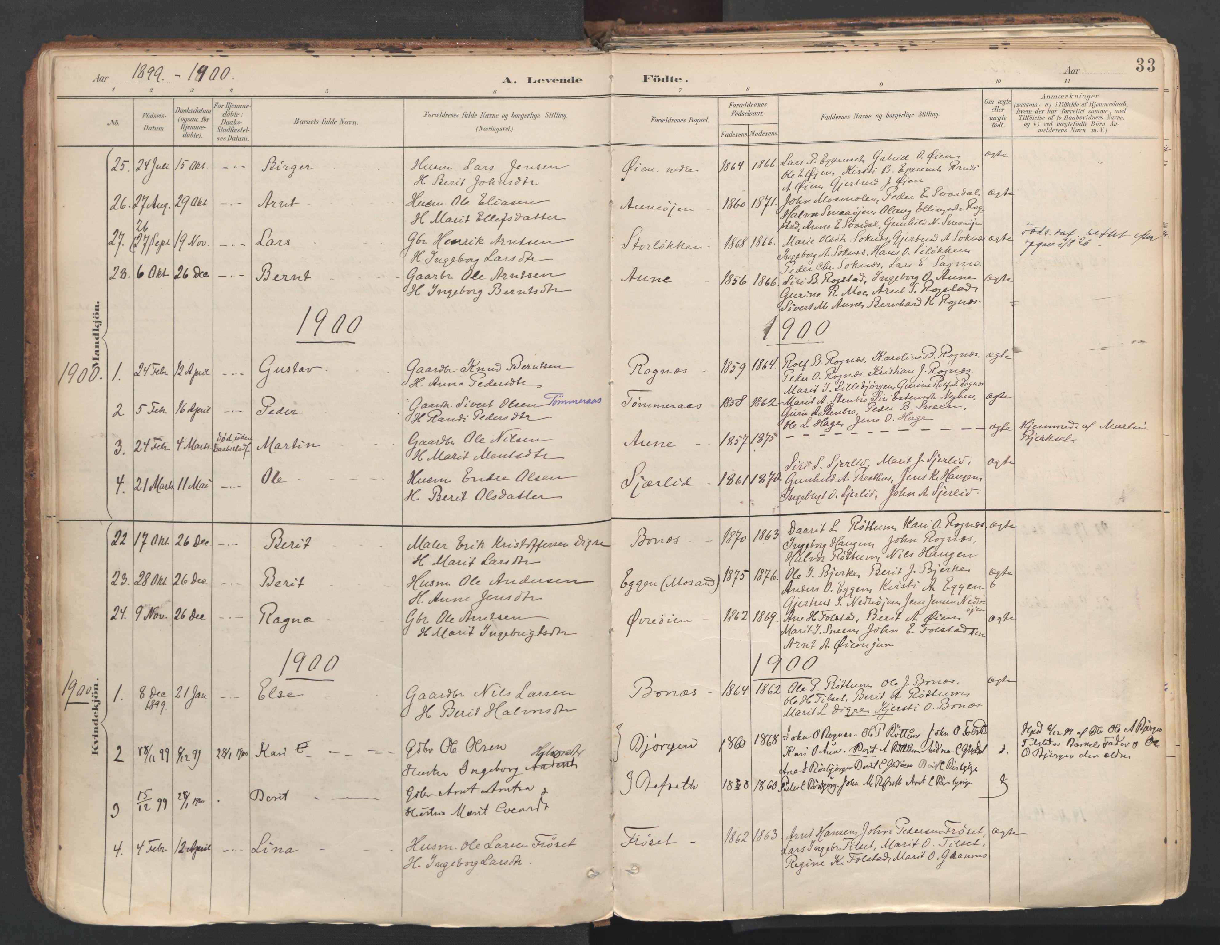 SAT, Ministerialprotokoller, klokkerbøker og fødselsregistre - Sør-Trøndelag, 687/L1004: Ministerialbok nr. 687A10, 1891-1923, s. 33