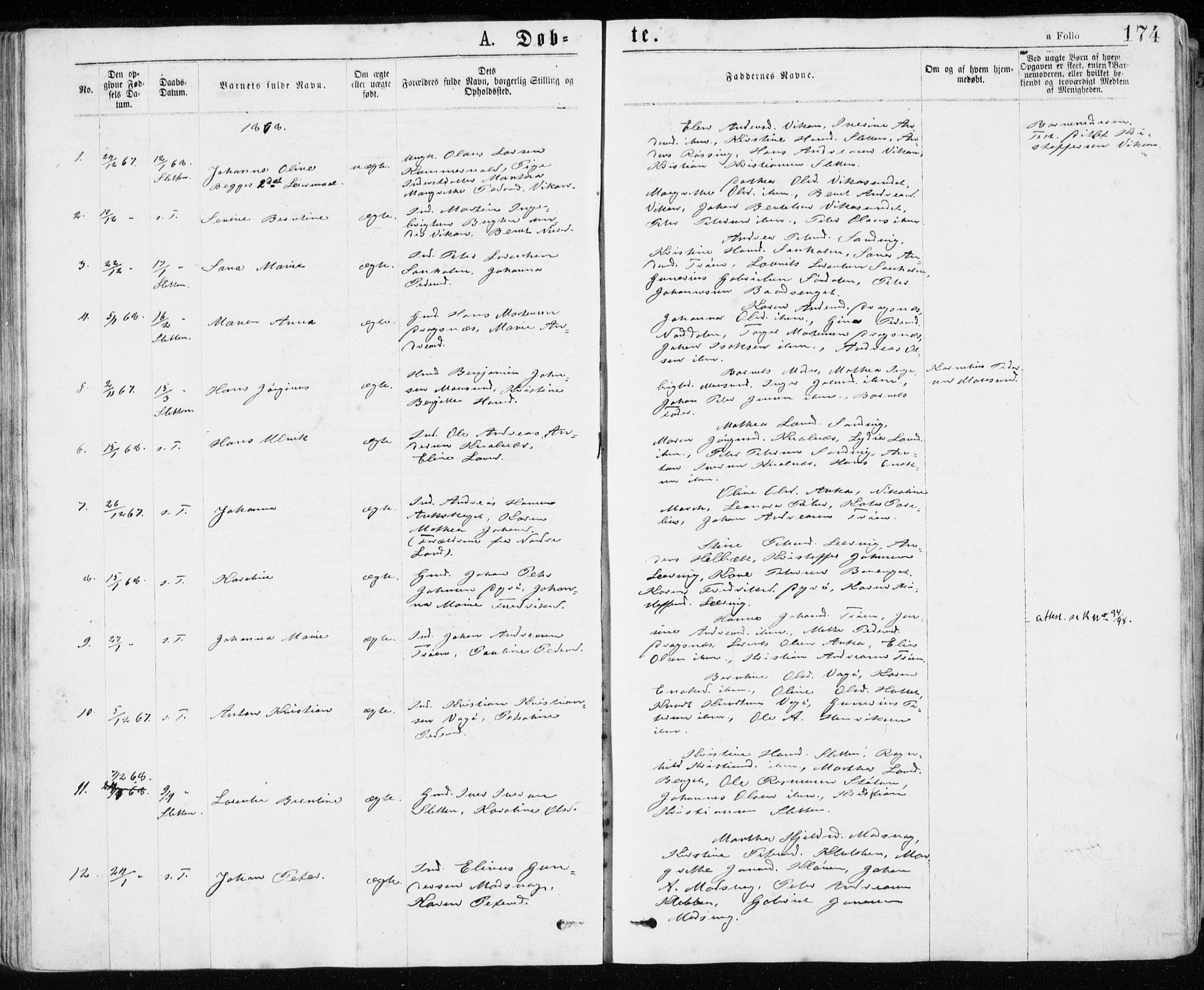 SAT, Ministerialprotokoller, klokkerbøker og fødselsregistre - Sør-Trøndelag, 640/L0576: Ministerialbok nr. 640A01, 1846-1876, s. 174