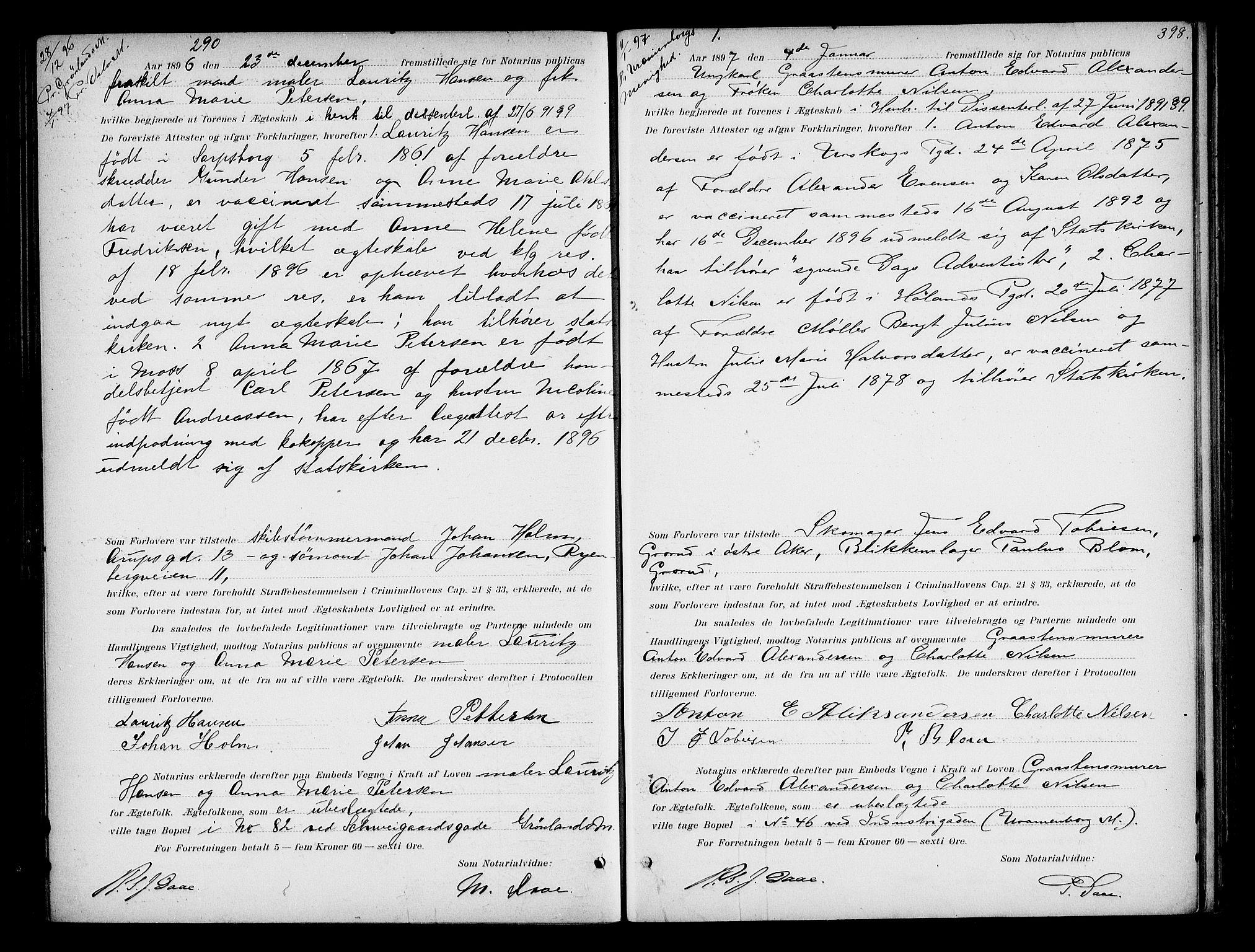 SAO, Oslo byfogd avd. I, L/Lb/Lbb/L0002: Notarialprotokoll, rekke II: Vigsler, 1893-1897, s. 397b-398a