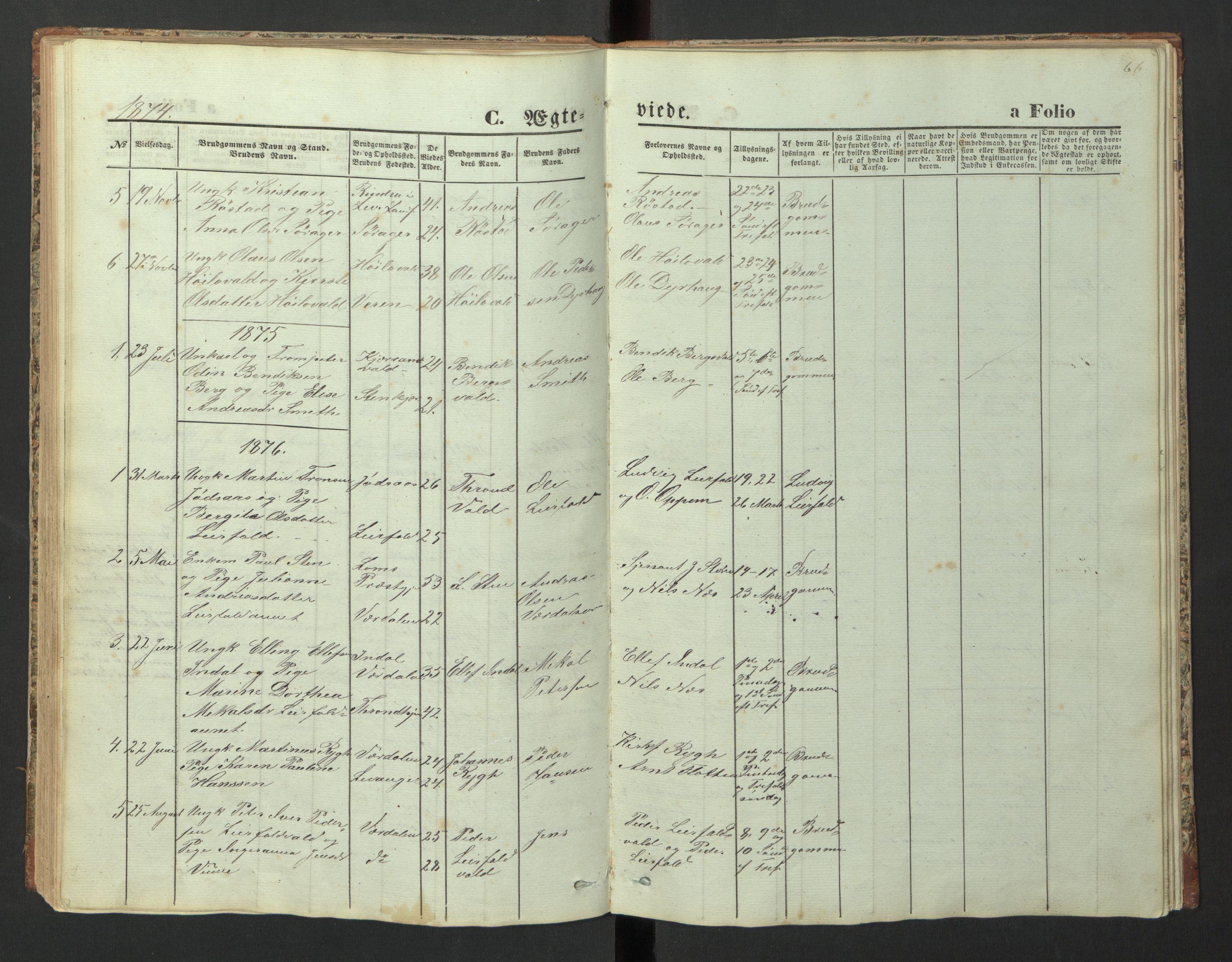 SAT, Ministerialprotokoller, klokkerbøker og fødselsregistre - Nord-Trøndelag, 726/L0271: Klokkerbok nr. 726C02, 1869-1897, s. 66