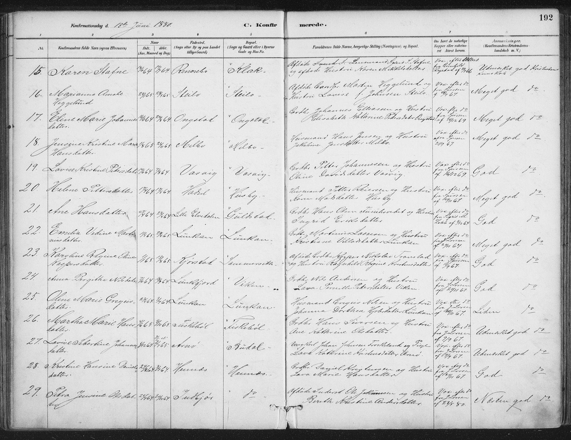 SAT, Ministerialprotokoller, klokkerbøker og fødselsregistre - Nordland, 888/L1244: Ministerialbok nr. 888A10, 1880-1890, s. 192