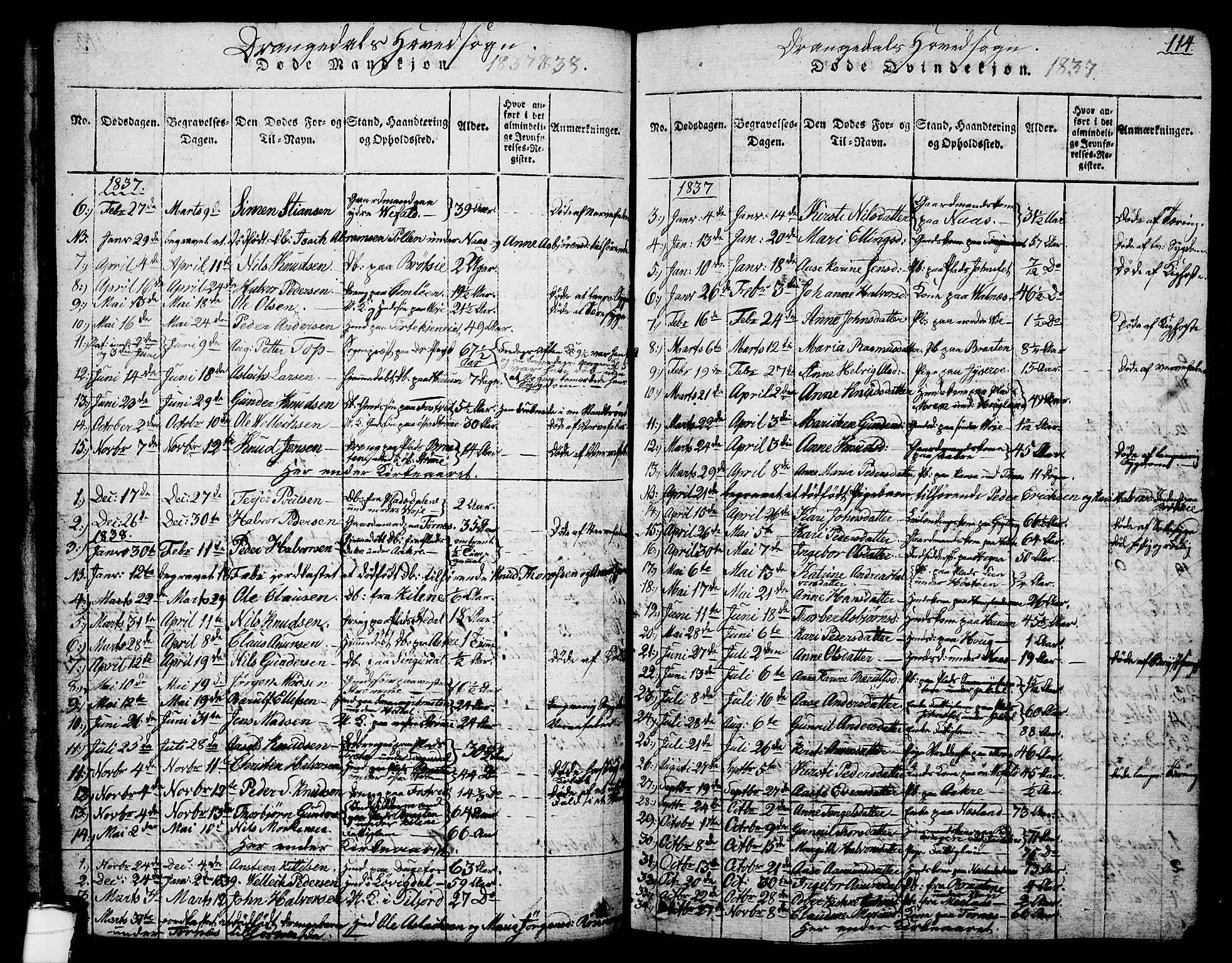 SAKO, Drangedal kirkebøker, G/Ga/L0001: Klokkerbok nr. I 1 /1, 1814-1856, s. 114