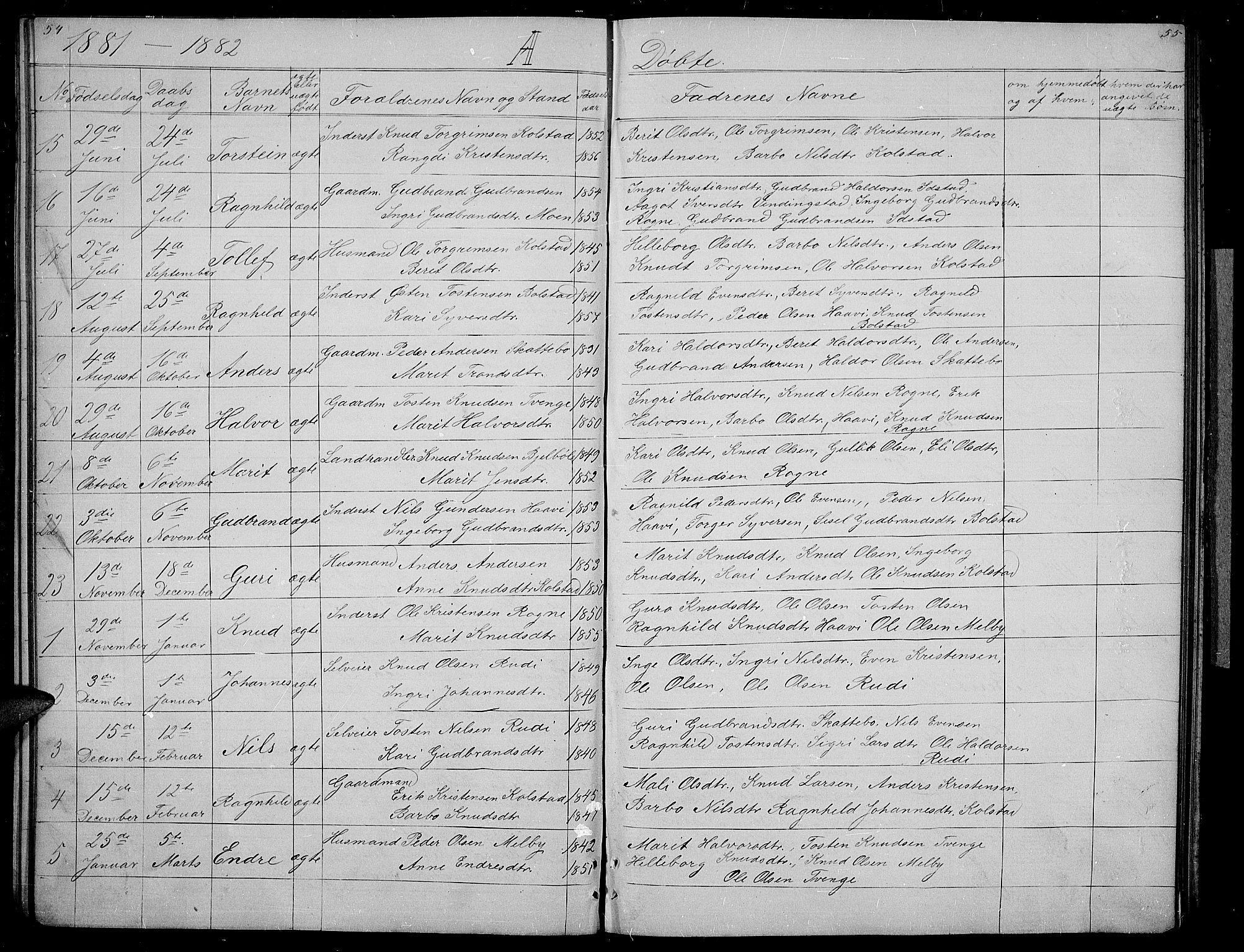 SAH, Øystre Slidre prestekontor, Klokkerbok nr. 3, 1866-1886, s. 54-55
