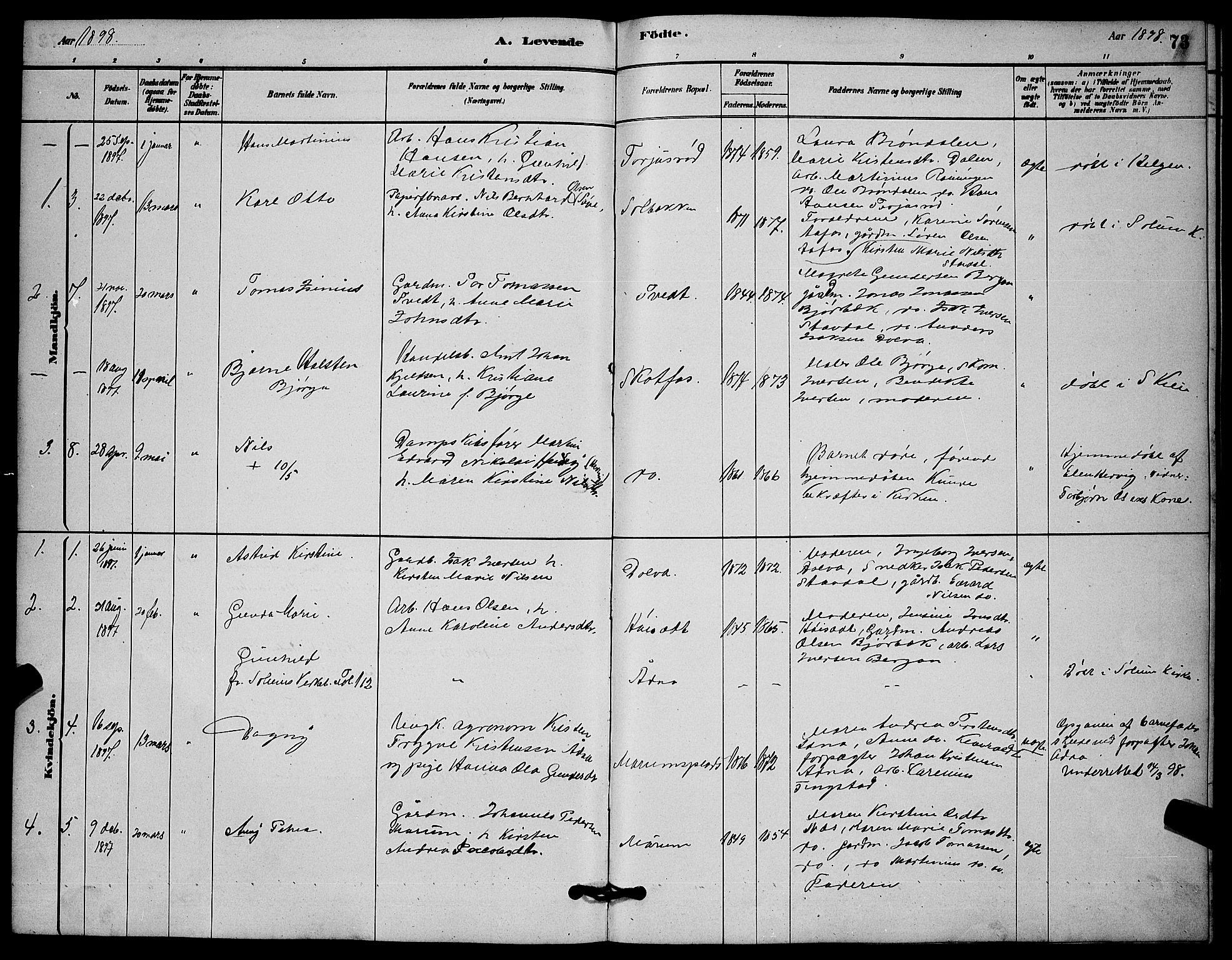 SAKO, Solum kirkebøker, G/Gb/L0003: Klokkerbok nr. II 3, 1880-1898, s. 73