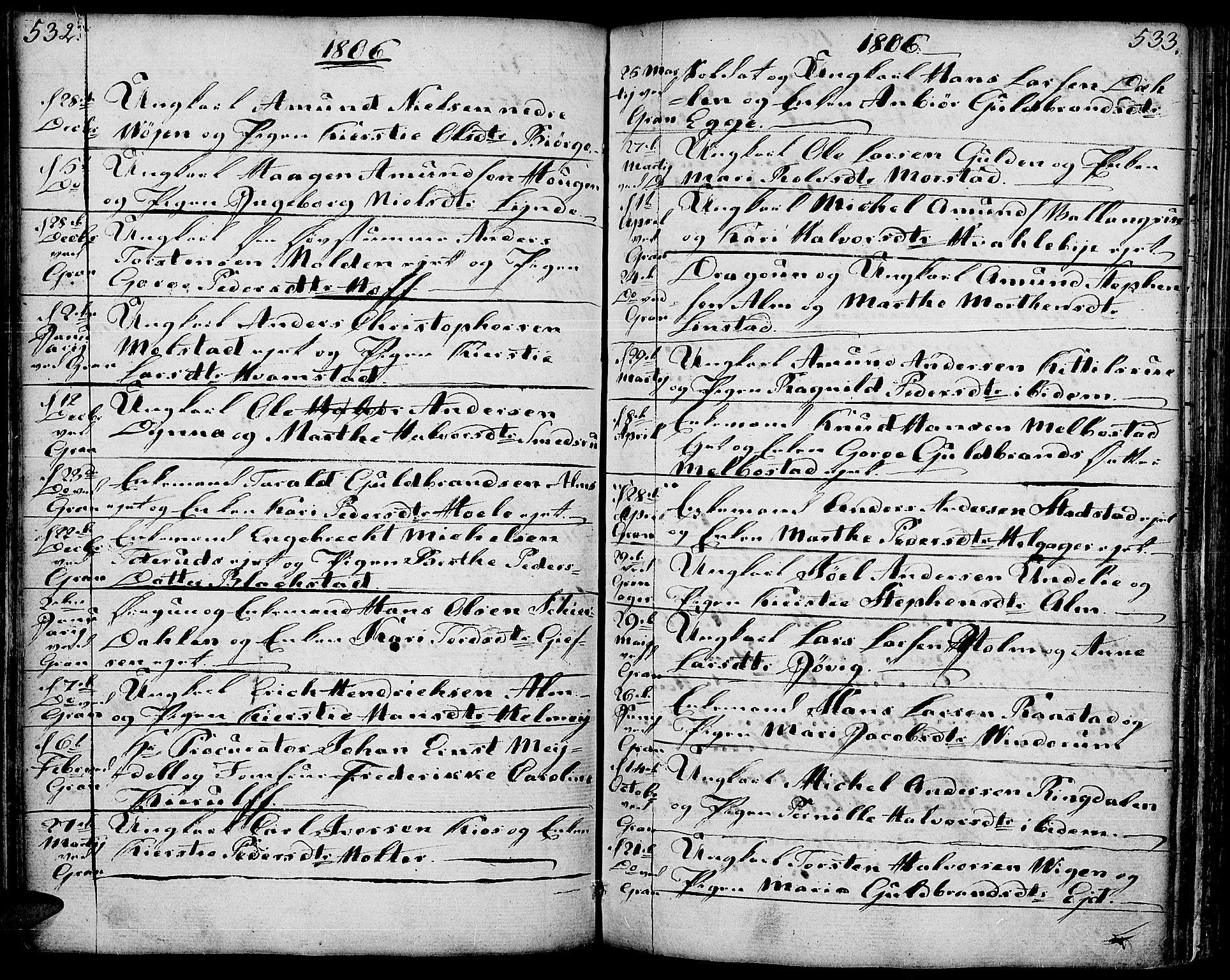 SAH, Gran prestekontor, Ministerialbok nr. 6, 1787-1824, s. 532-533