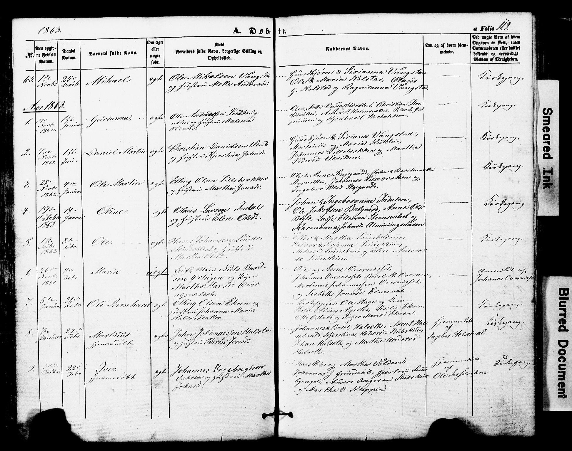 SAT, Ministerialprotokoller, klokkerbøker og fødselsregistre - Nord-Trøndelag, 724/L0268: Klokkerbok nr. 724C04, 1846-1878, s. 119