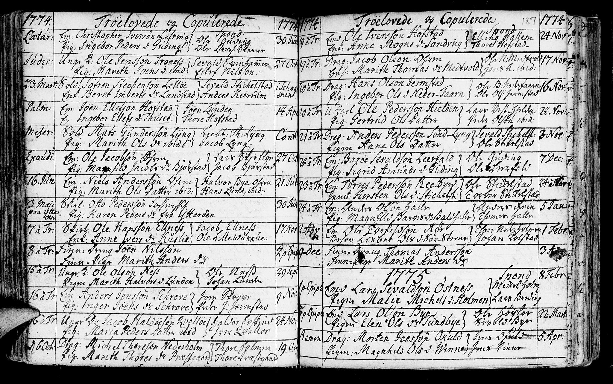 SAT, Ministerialprotokoller, klokkerbøker og fødselsregistre - Nord-Trøndelag, 723/L0231: Ministerialbok nr. 723A02, 1748-1780, s. 187