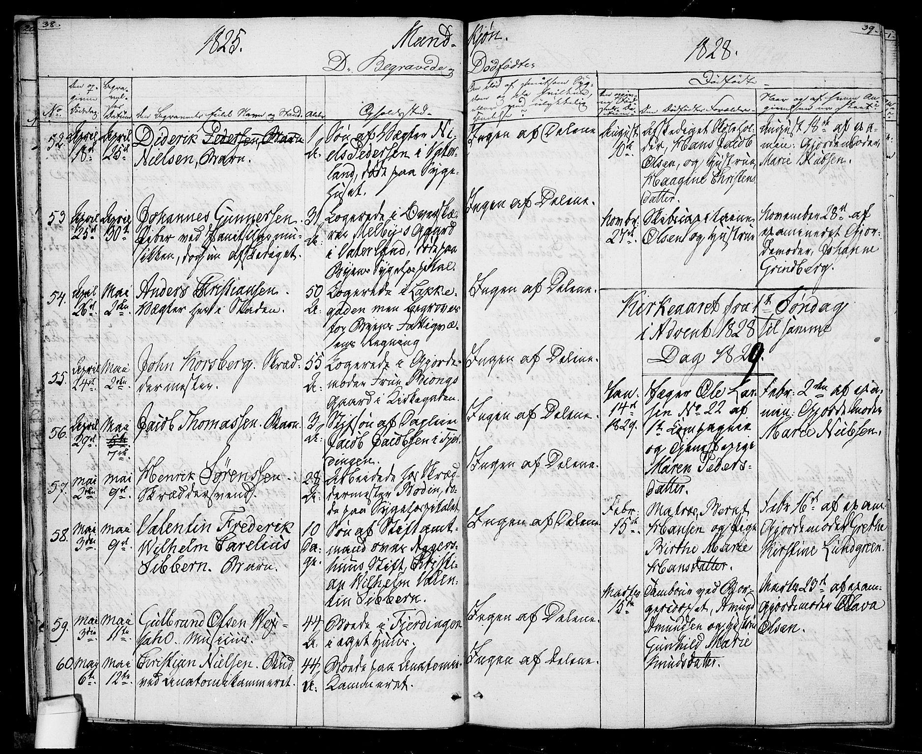 SAO, Oslo domkirke Kirkebøker, F/Fa/L0022: Ministerialbok nr. 22, 1824-1829, s. 38-39