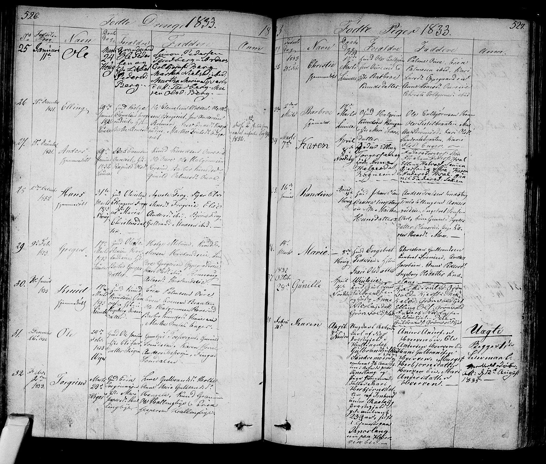 SAKO, Norderhov kirkebøker, F/Fa/L0009: Ministerialbok nr. 9, 1819-1837, s. 526-527