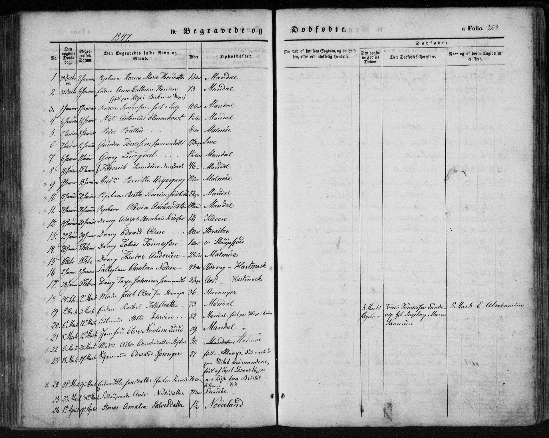SAK, Mandal sokneprestkontor, F/Fa/Faa/L0013: Ministerialbok nr. A 13, 1847-1859, s. 323