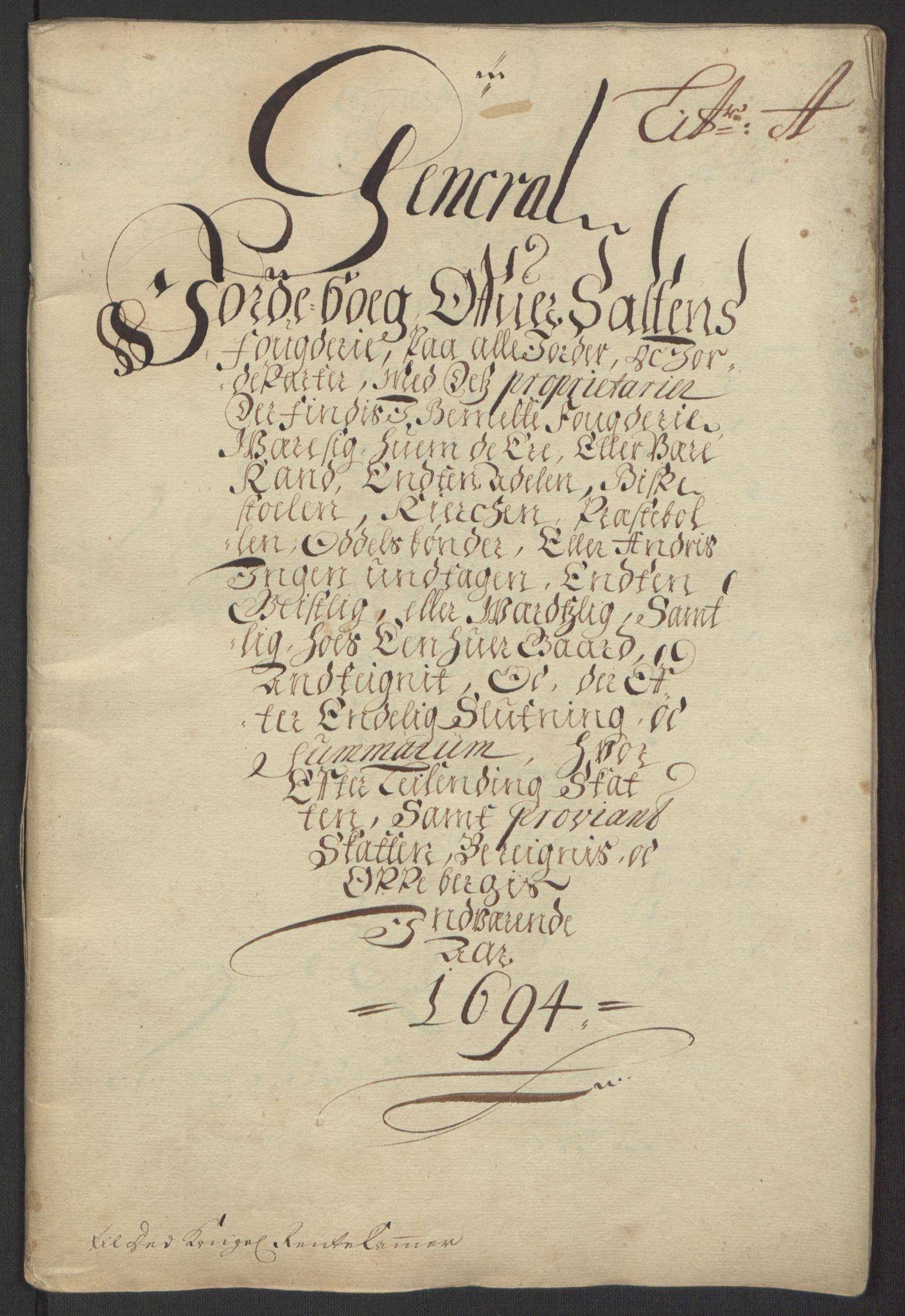 RA, Rentekammeret inntil 1814, Reviderte regnskaper, Fogderegnskap, R66/L4578: Fogderegnskap Salten, 1694-1696, s. 13