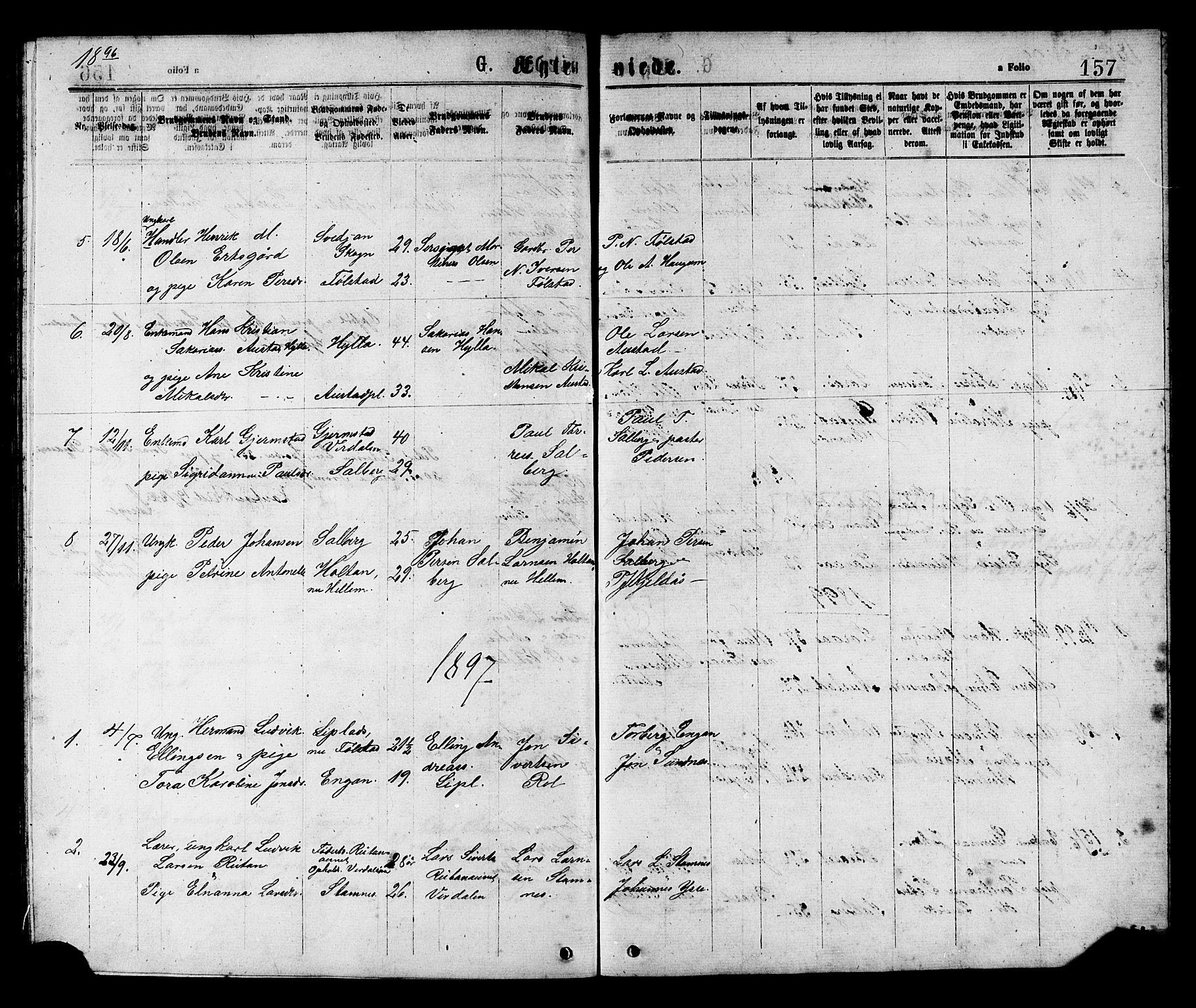 SAT, Ministerialprotokoller, klokkerbøker og fødselsregistre - Nord-Trøndelag, 731/L0311: Klokkerbok nr. 731C02, 1875-1911, s. 157