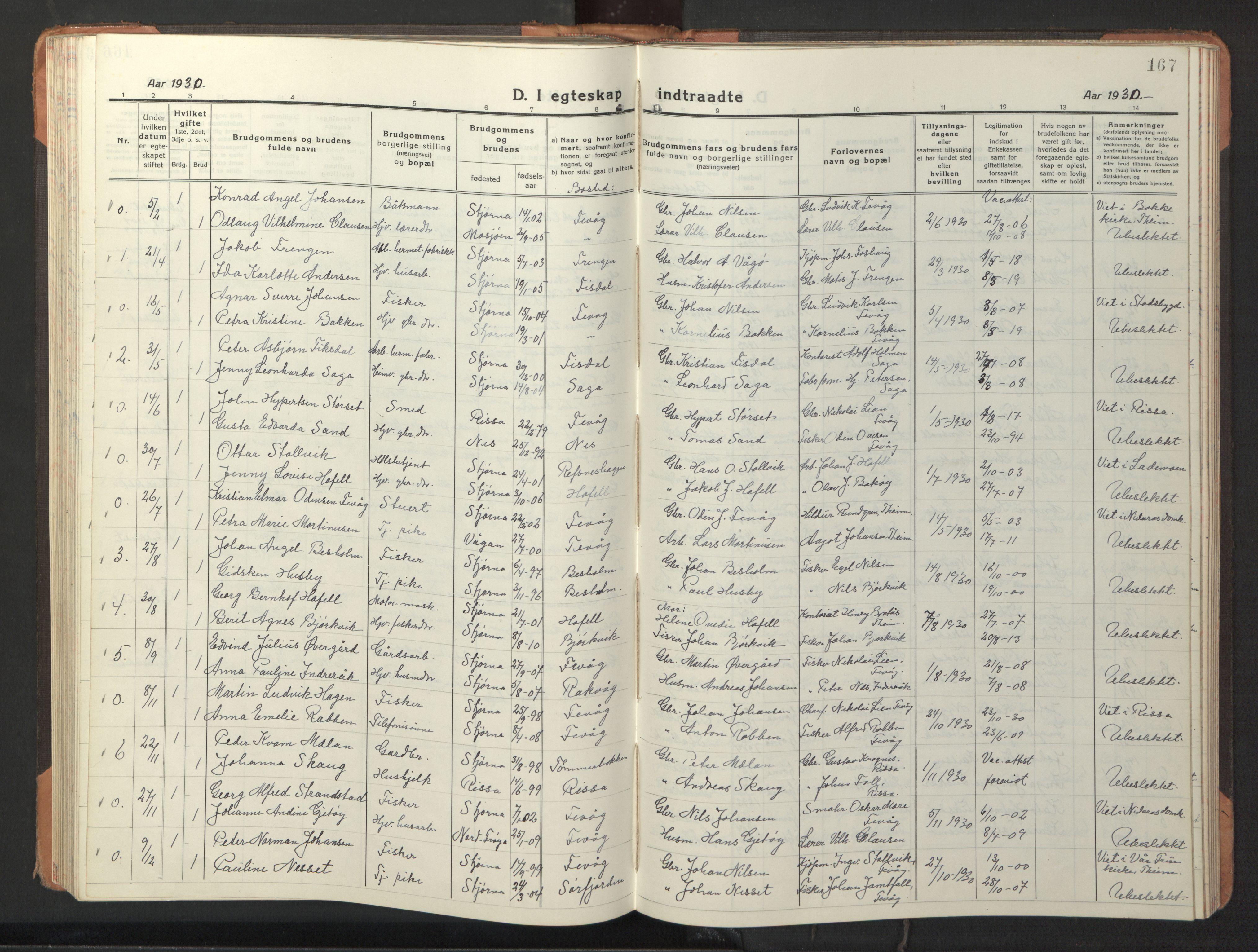 SAT, Ministerialprotokoller, klokkerbøker og fødselsregistre - Sør-Trøndelag, 653/L0658: Klokkerbok nr. 653C02, 1919-1947, s. 167