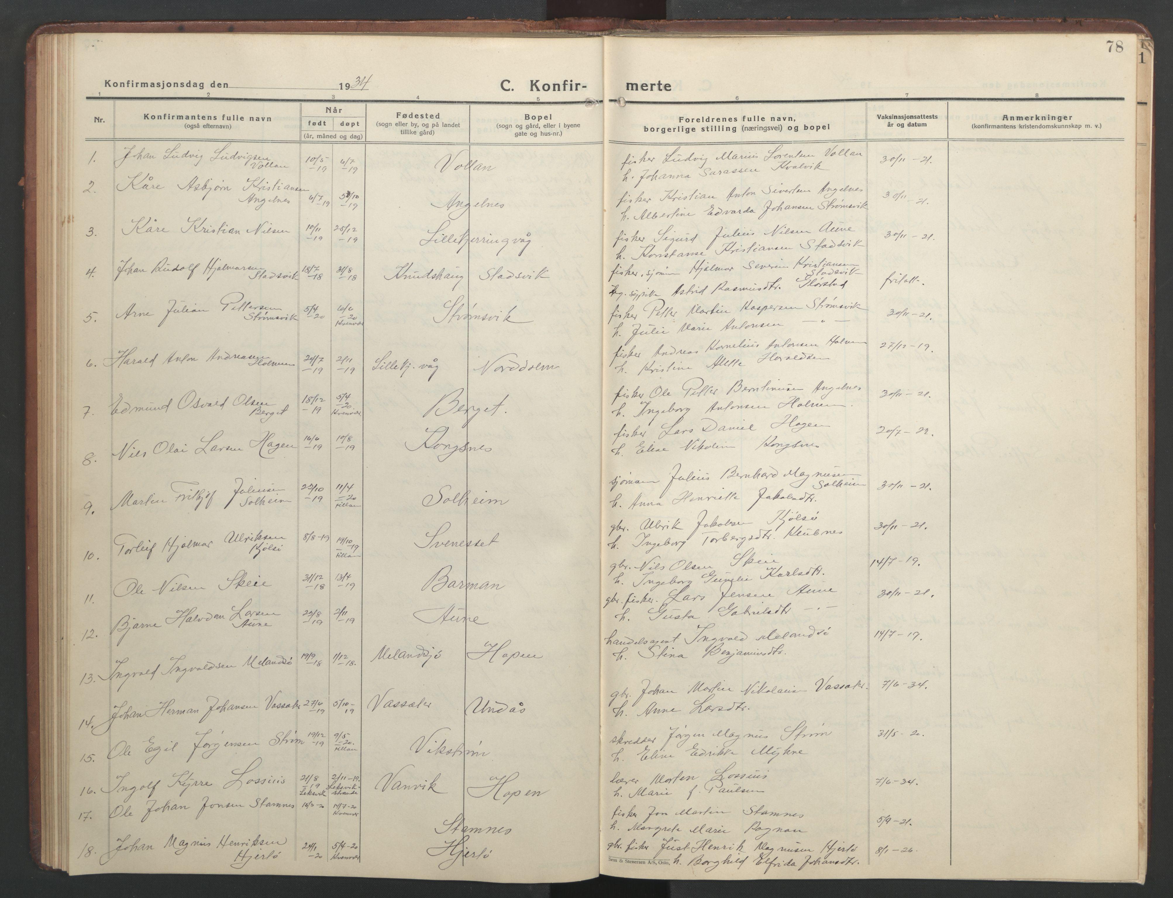 SAT, Ministerialprotokoller, klokkerbøker og fødselsregistre - Sør-Trøndelag, 634/L0544: Klokkerbok nr. 634C06, 1927-1948, s. 78