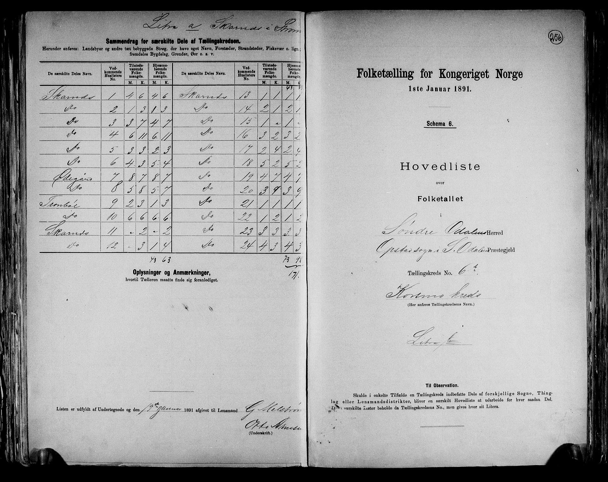 RA, Folketelling 1891 for 0419 Sør-Odal herred, 1891, s. 18