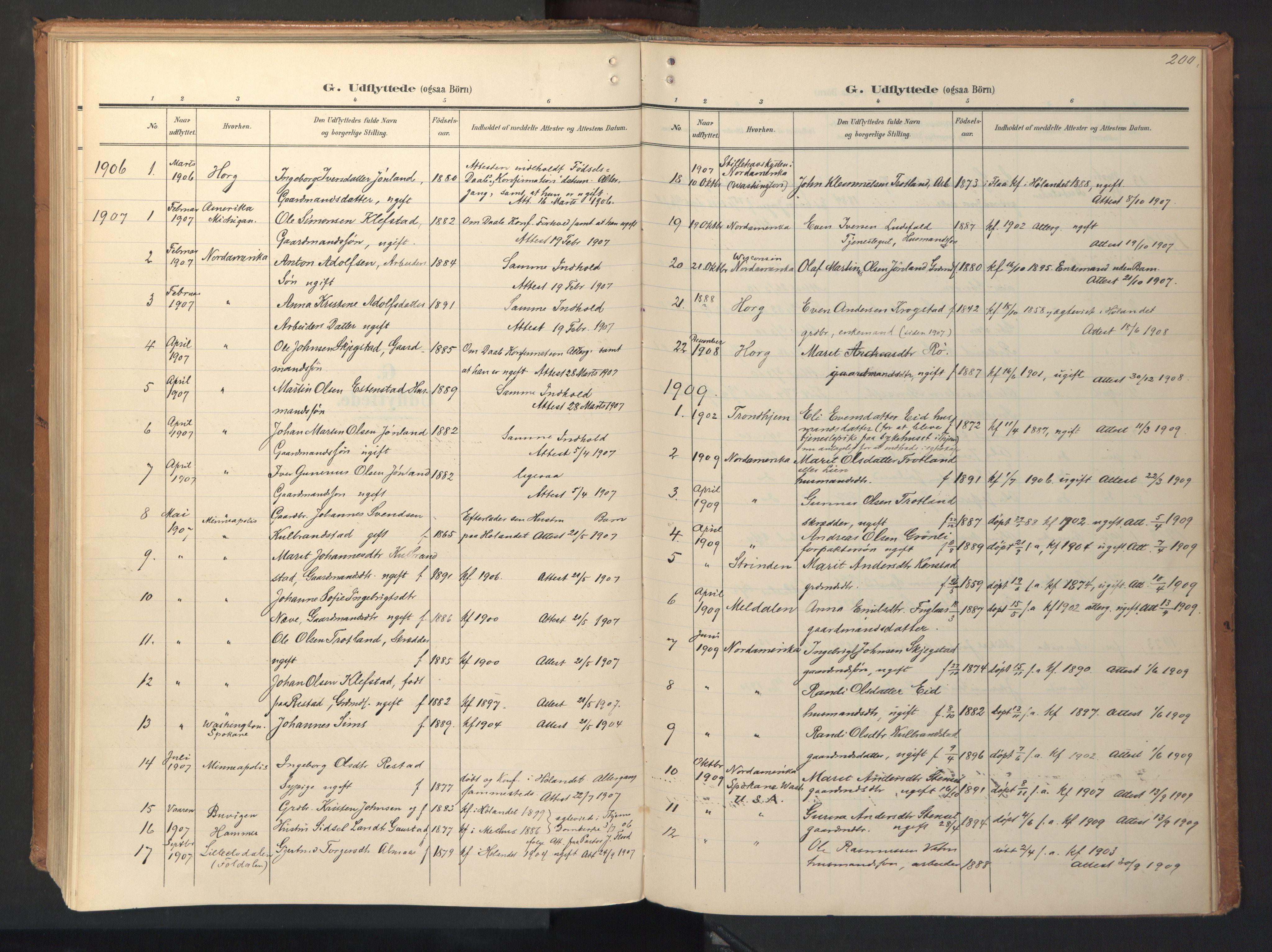 SAT, Ministerialprotokoller, klokkerbøker og fødselsregistre - Sør-Trøndelag, 694/L1128: Ministerialbok nr. 694A02, 1906-1931, s. 200
