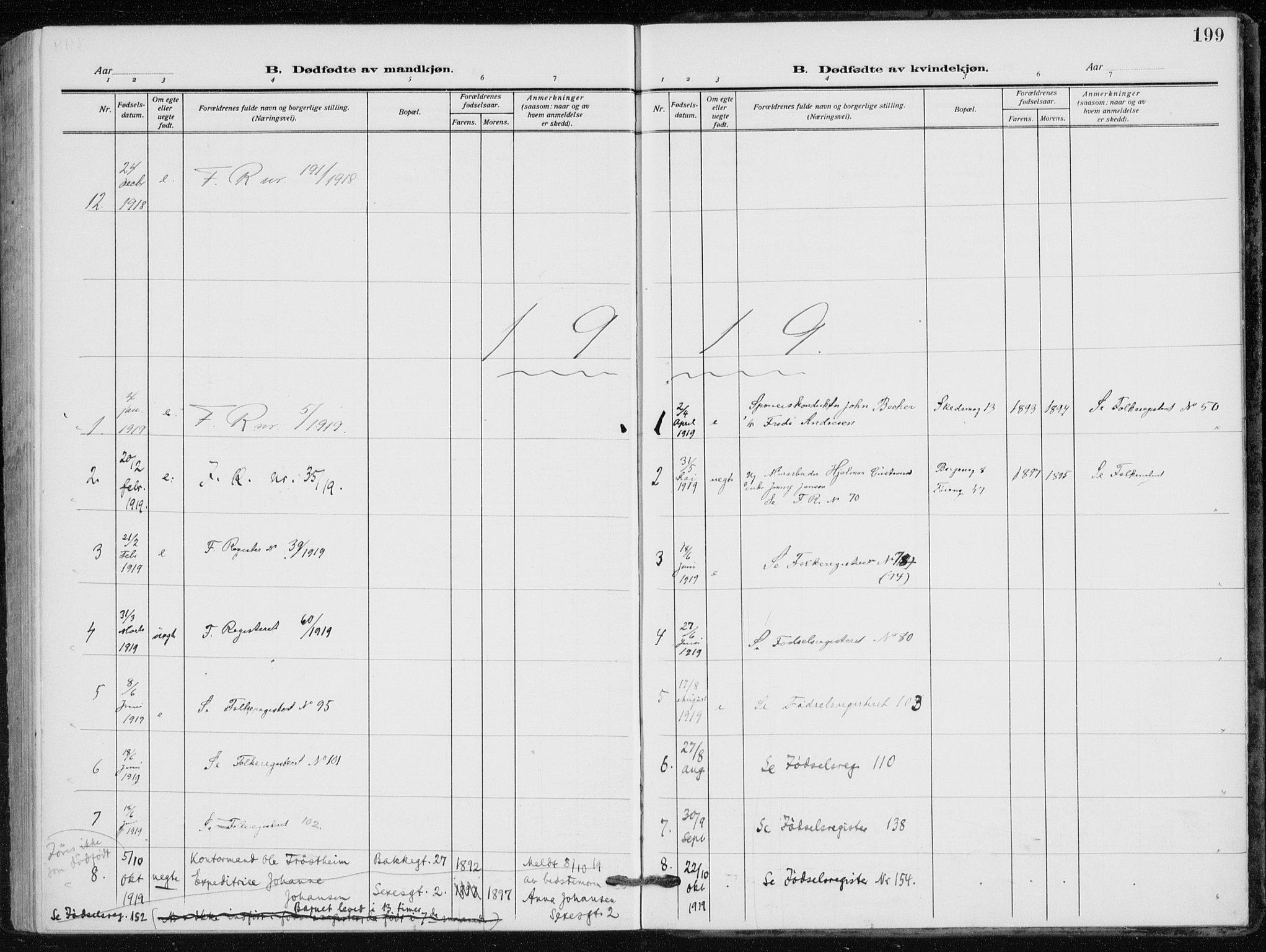 SAO, Kampen prestekontor Kirkebøker, F/Fa/L0012: Ministerialbok nr. I 12, 1916-1921, s. 199