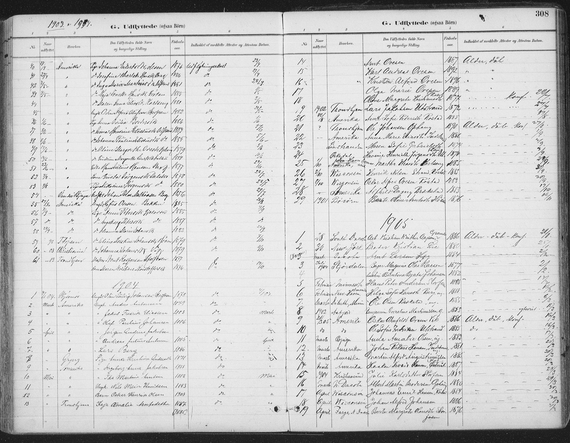 SAT, Ministerialprotokoller, klokkerbøker og fødselsregistre - Sør-Trøndelag, 659/L0743: Ministerialbok nr. 659A13, 1893-1910, s. 308