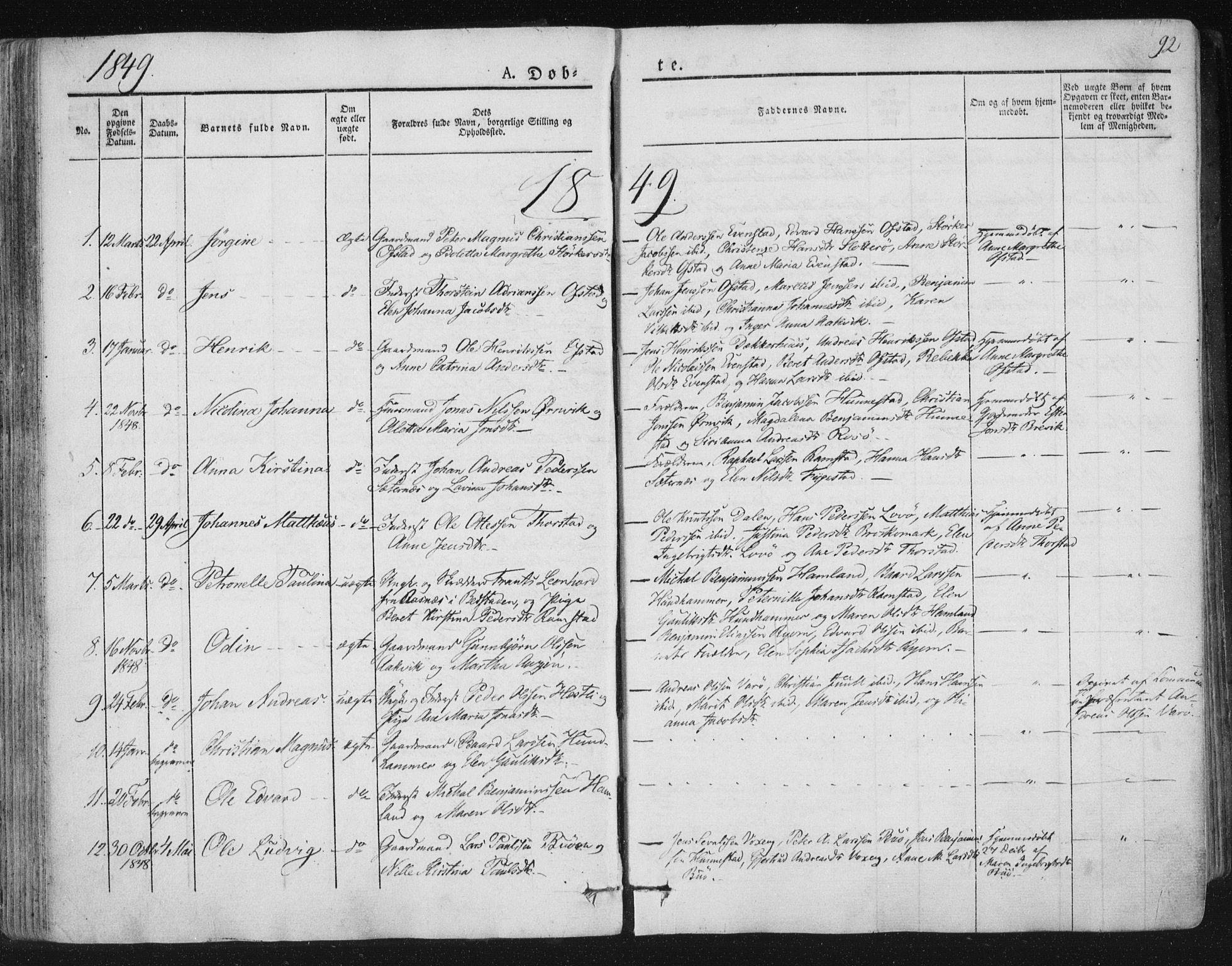SAT, Ministerialprotokoller, klokkerbøker og fødselsregistre - Nord-Trøndelag, 784/L0669: Ministerialbok nr. 784A04, 1829-1859, s. 92