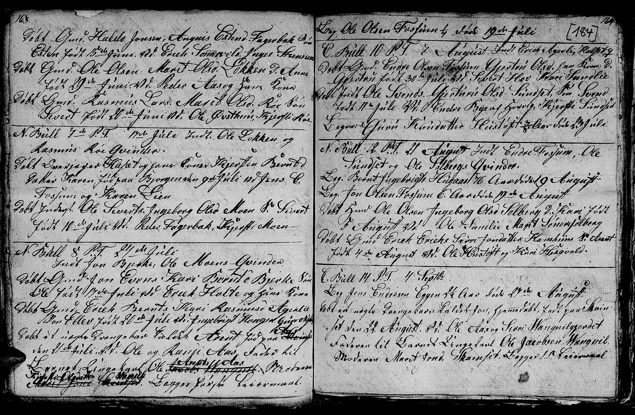 SAT, Ministerialprotokoller, klokkerbøker og fødselsregistre - Sør-Trøndelag, 689/L1042: Klokkerbok nr. 689C01, 1812-1841, s. 183-184