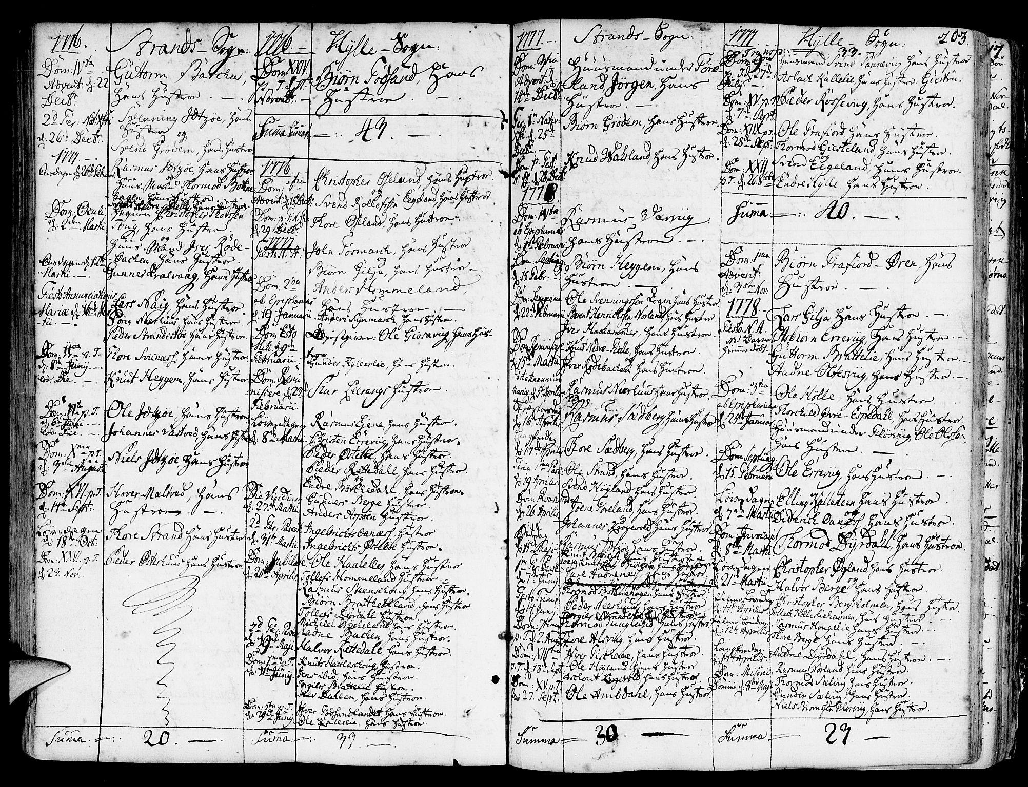 SAST, Strand sokneprestkontor, H/Ha/Haa/L0003: Ministerialbok nr. A 3, 1769-1816, s. 203