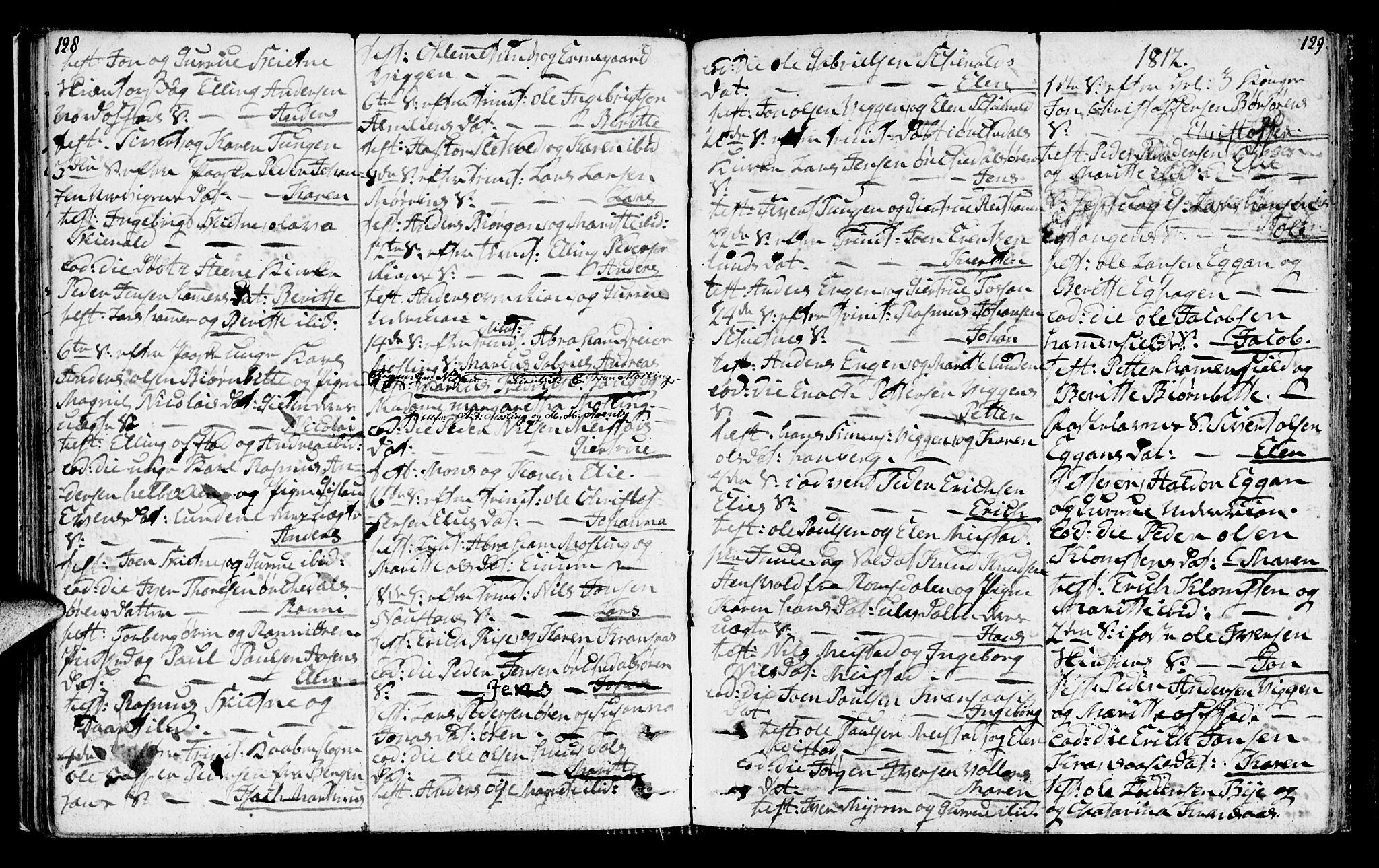 SAT, Ministerialprotokoller, klokkerbøker og fødselsregistre - Sør-Trøndelag, 665/L0769: Ministerialbok nr. 665A04, 1803-1816, s. 128-129
