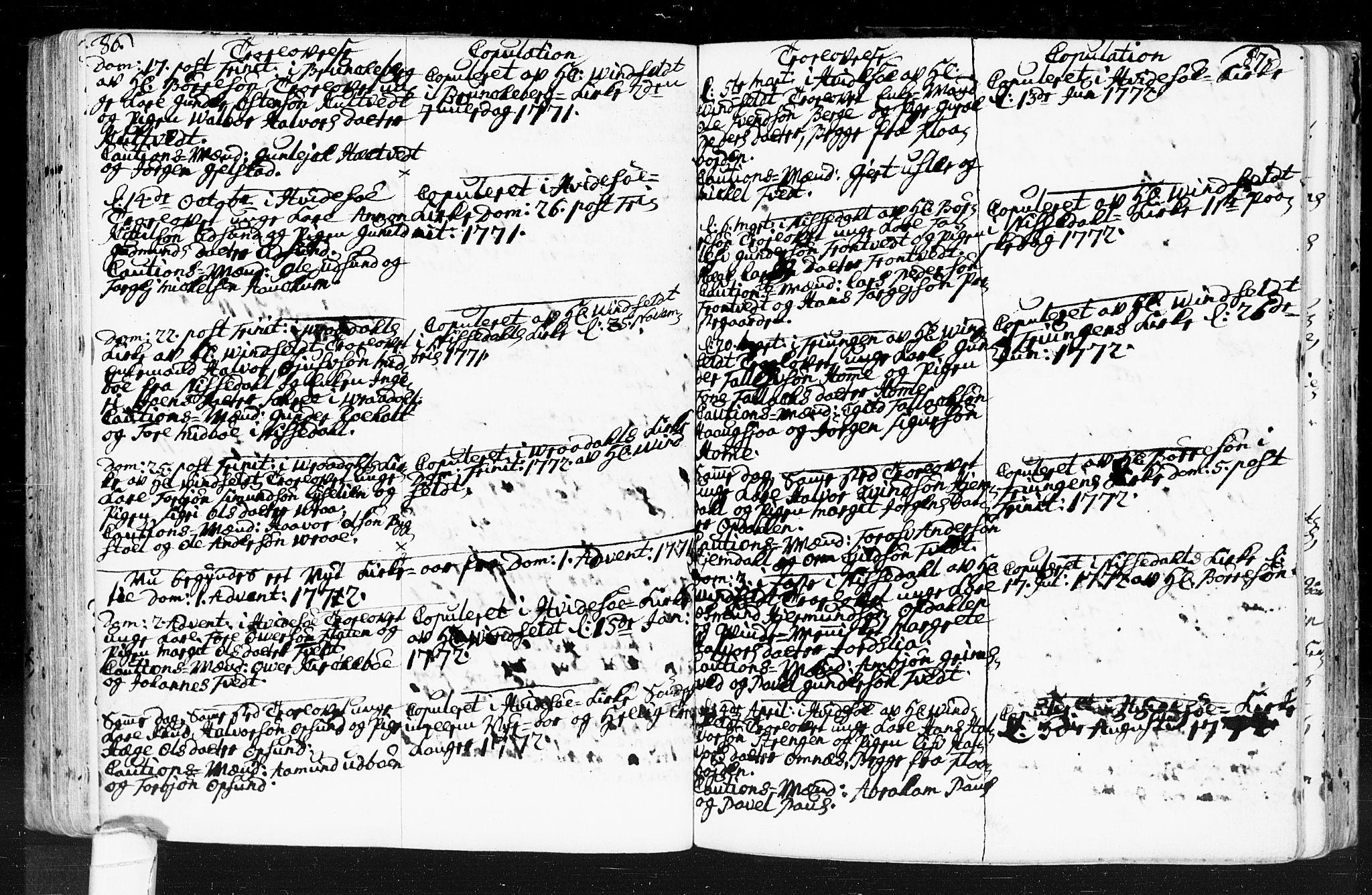 SAKO, Kviteseid kirkebøker, F/Fa/L0001: Ministerialbok nr. I 1, 1754-1773, s. 86-87