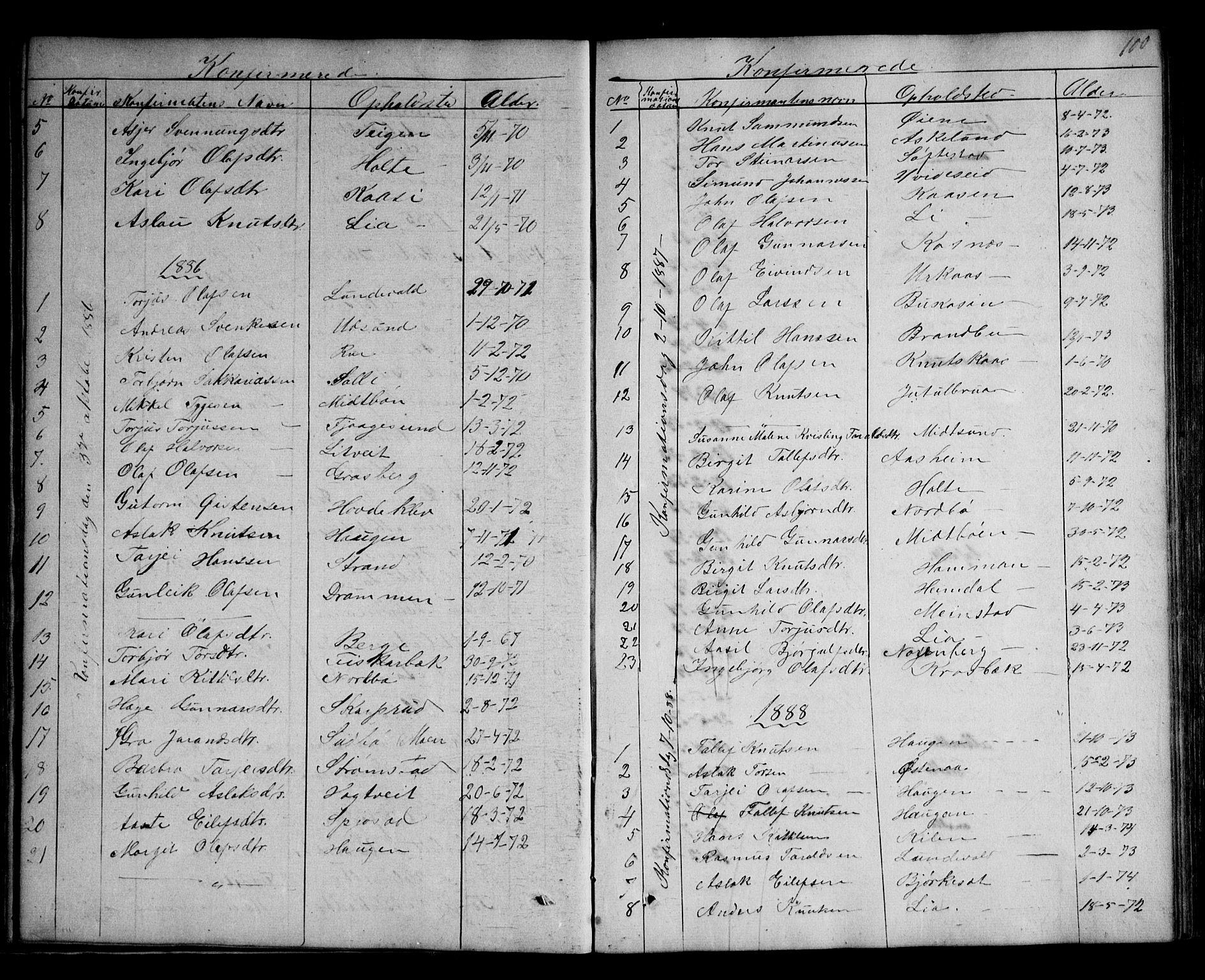 SAKO, Kviteseid kirkebøker, G/Ga/L0001: Klokkerbok nr. I 1, 1850-1893, s. 100