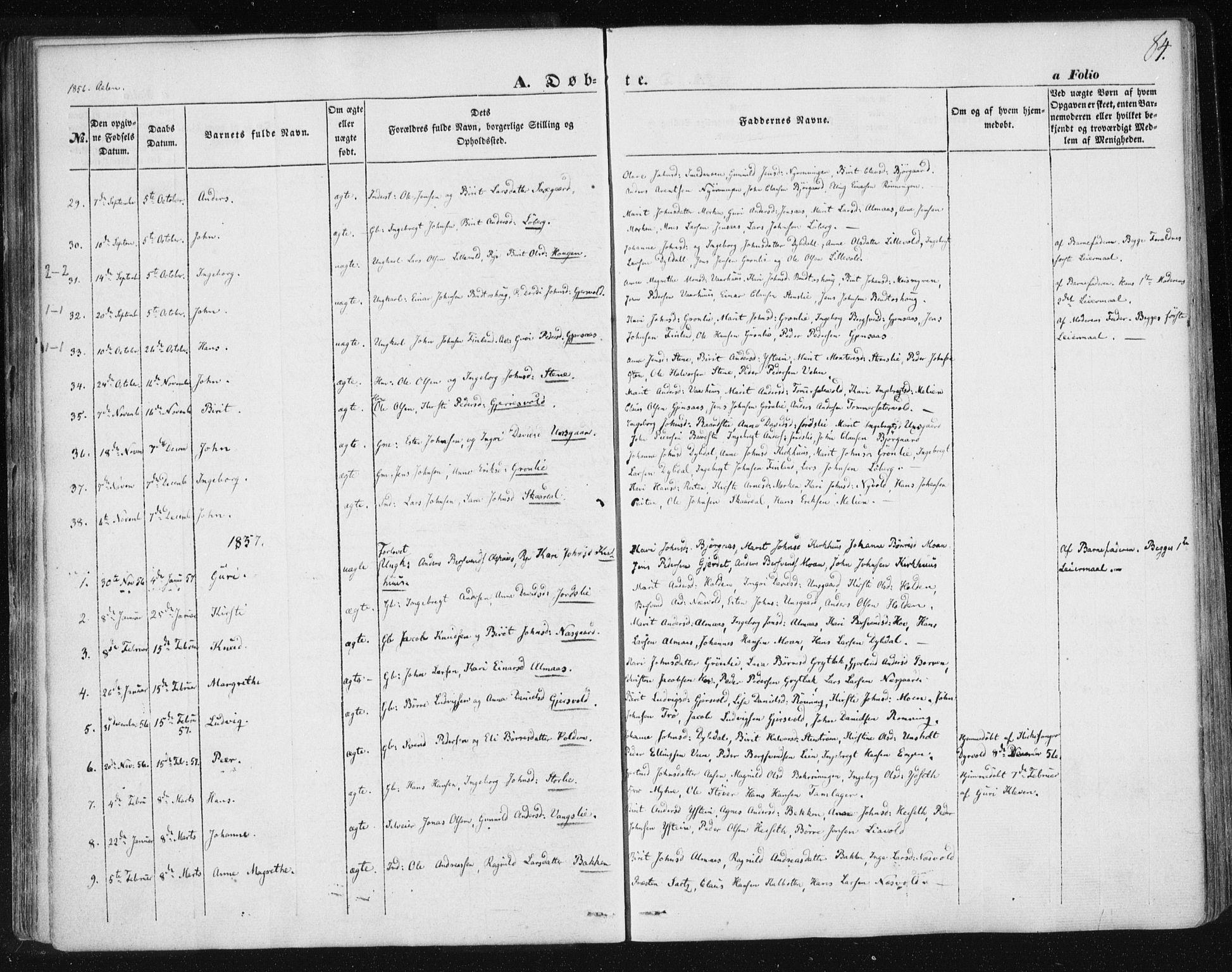 SAT, Ministerialprotokoller, klokkerbøker og fødselsregistre - Sør-Trøndelag, 685/L0965: Ministerialbok nr. 685A06 /3, 1846-1859, s. 84