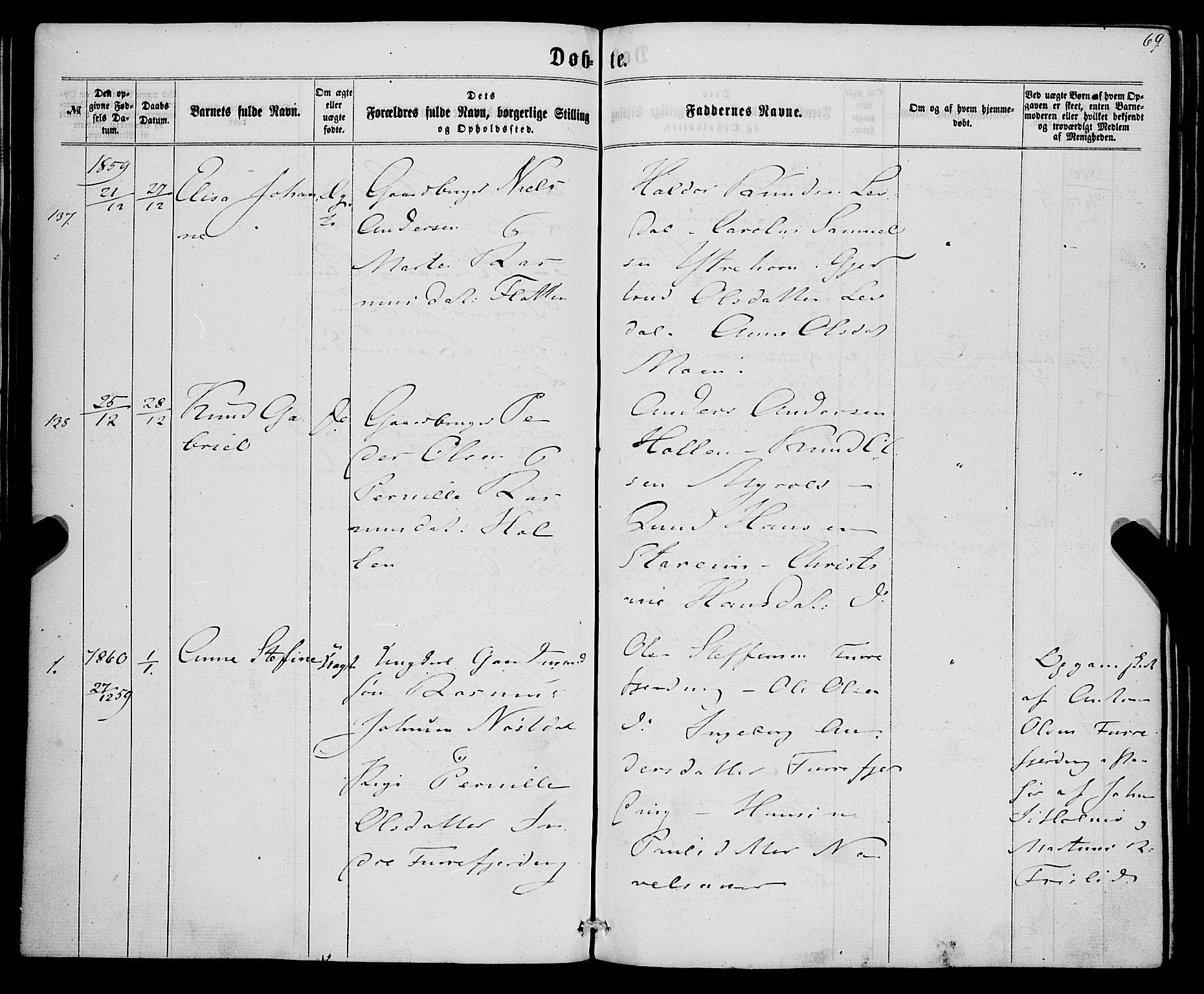SAB, Eid Sokneprestembete, H/Haa: Ministerialbok nr. A 8, 1858-1860, s. 69