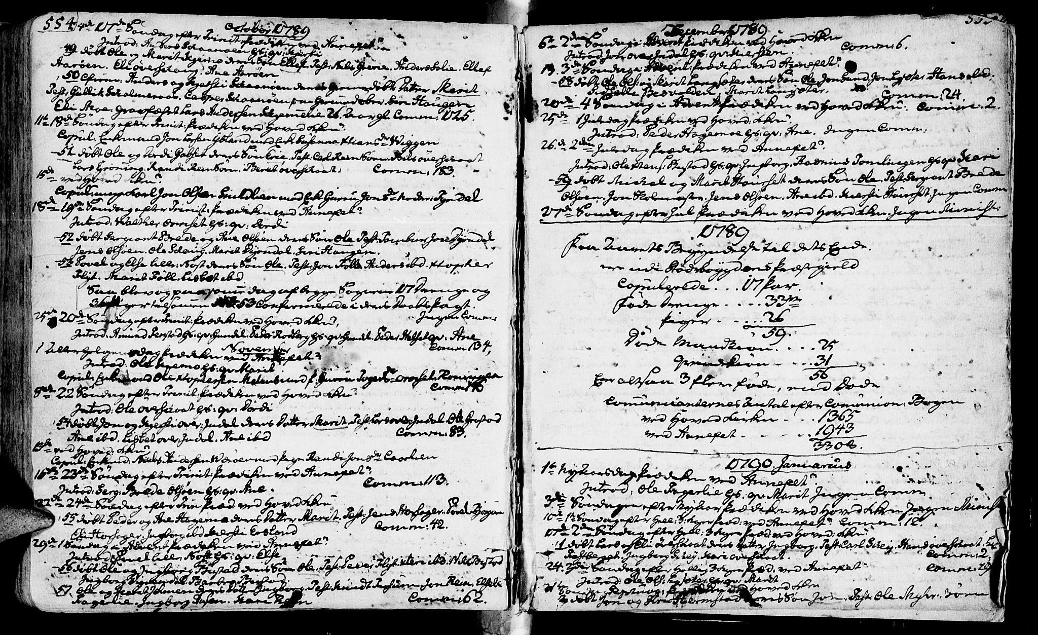 SAT, Ministerialprotokoller, klokkerbøker og fødselsregistre - Sør-Trøndelag, 646/L0605: Ministerialbok nr. 646A03, 1751-1790, s. 554-555