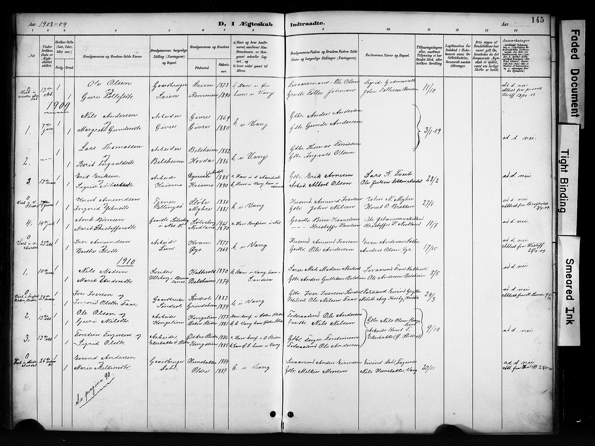 SAH, Vang prestekontor, Valdres, Klokkerbok nr. 6, 1893-1918, s. 145