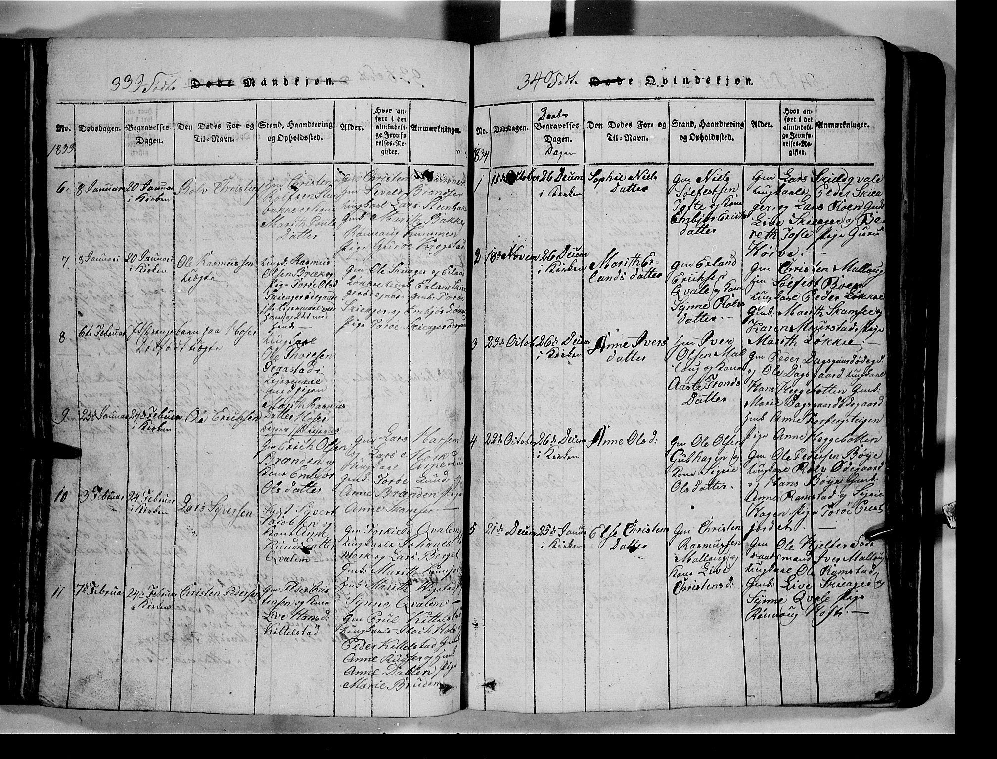 SAH, Lom prestekontor, L/L0003: Klokkerbok nr. 3, 1815-1844, s. 339-340