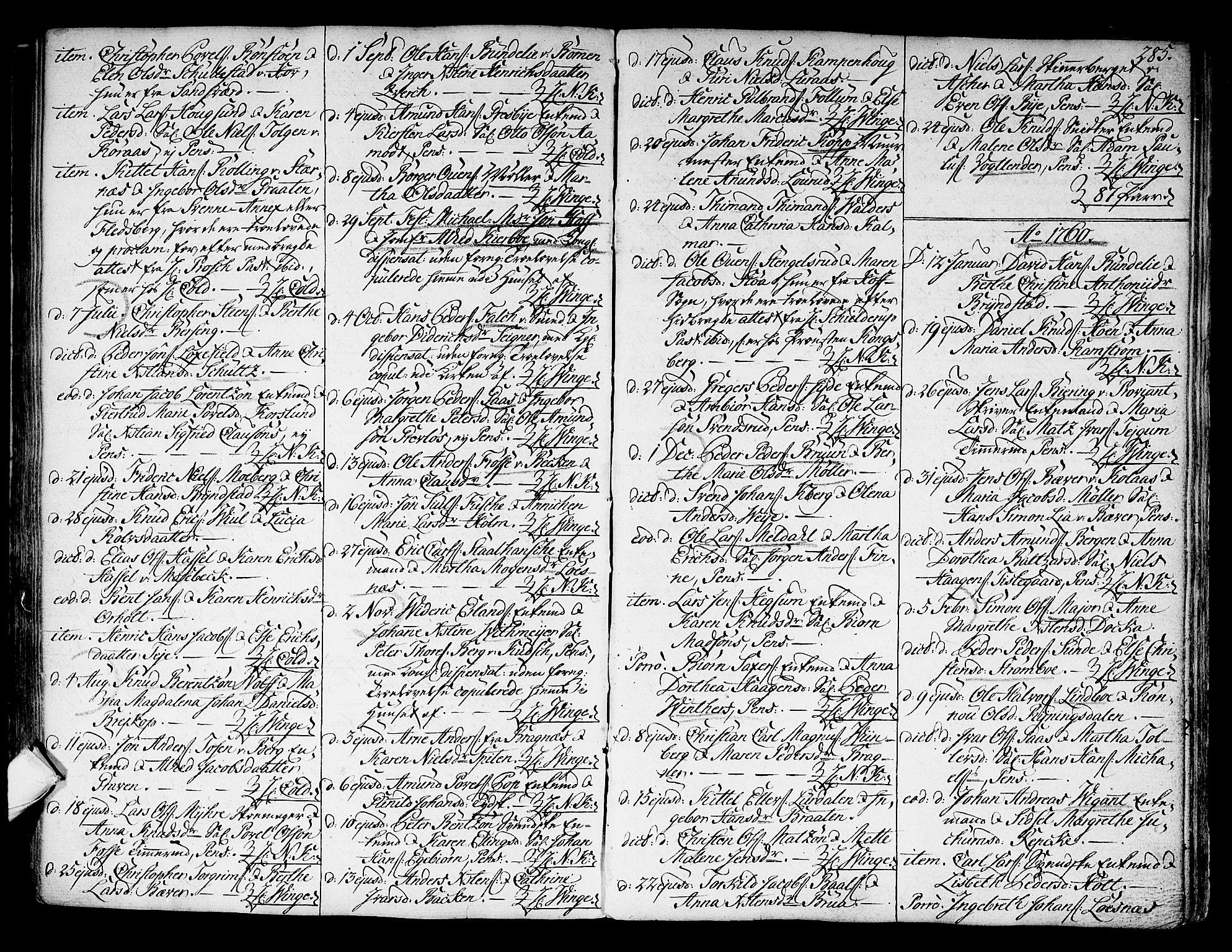 SAKO, Kongsberg kirkebøker, F/Fa/L0004: Ministerialbok nr. I 4, 1756-1768, s. 285