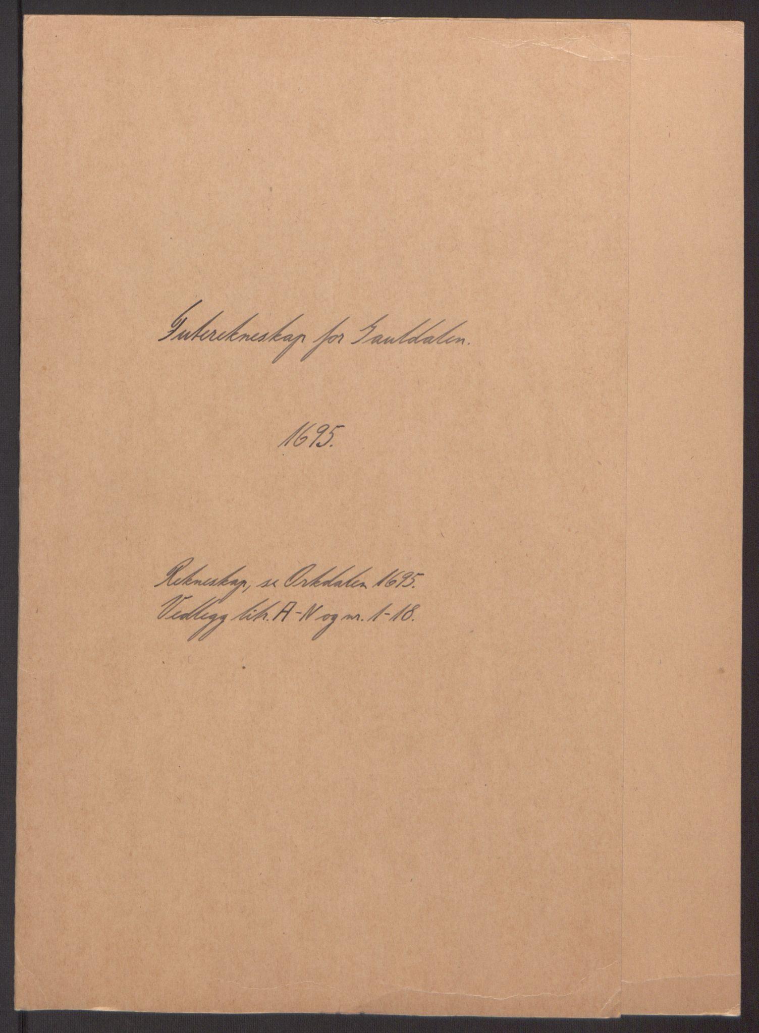 RA, Rentekammeret inntil 1814, Reviderte regnskaper, Fogderegnskap, R60/L3945: Fogderegnskap Orkdal og Gauldal, 1695, s. 246