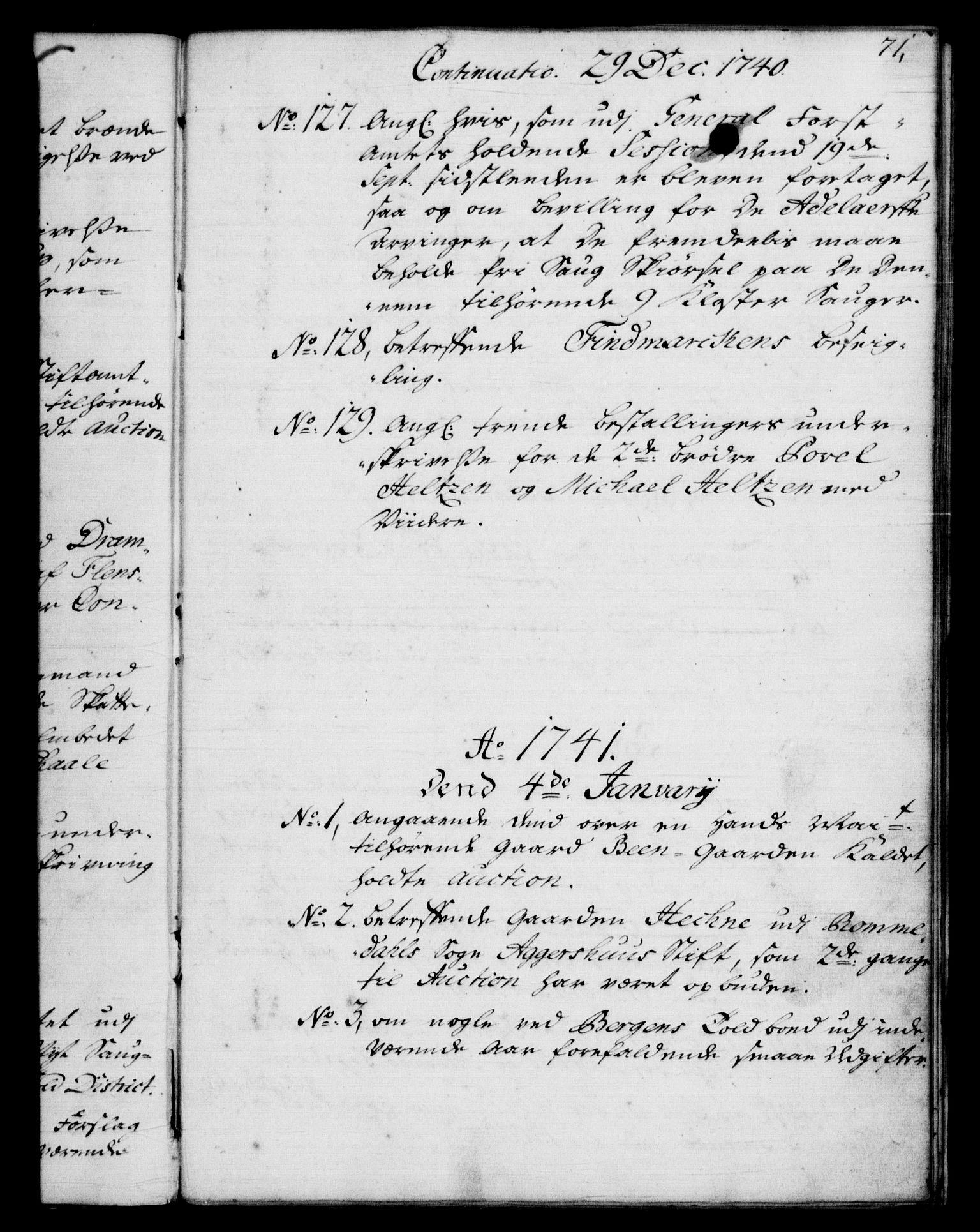 RA, Rentekammeret, Kammerkanselliet, G/Gf/Gfb/L0004: Register til norske relasjons- og resolusjonsprotokoller (merket RK 52.99), 1736-1743, s. 71