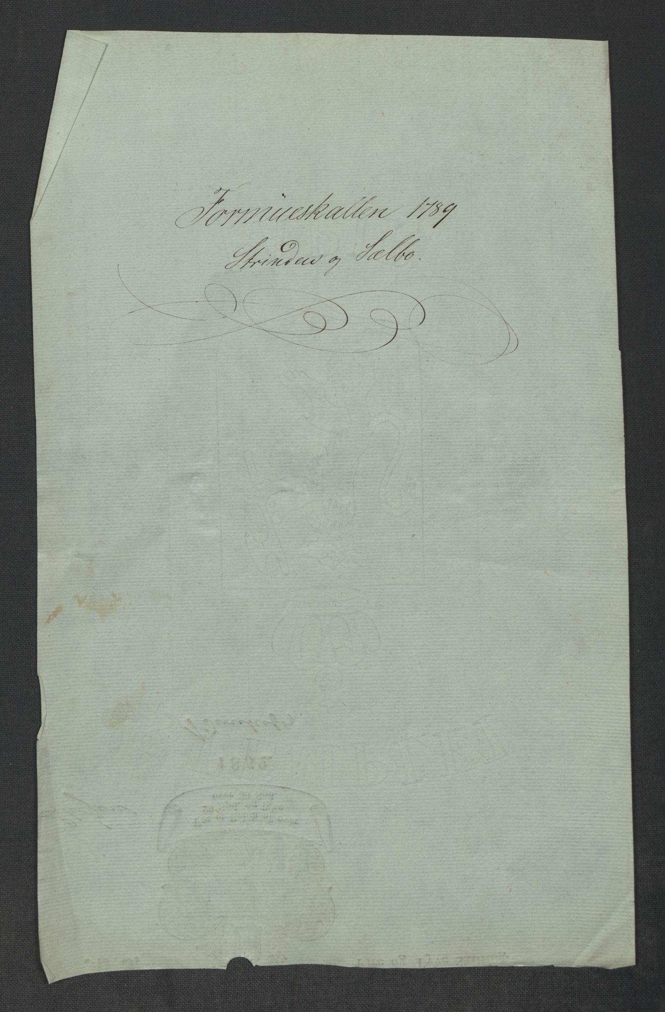 RA, Rentekammeret inntil 1814, Reviderte regnskaper, Mindre regnskaper, Rf/Rfe/L0047: Strinda og Selbu fogderi. Strømsø, 1789, s. 3