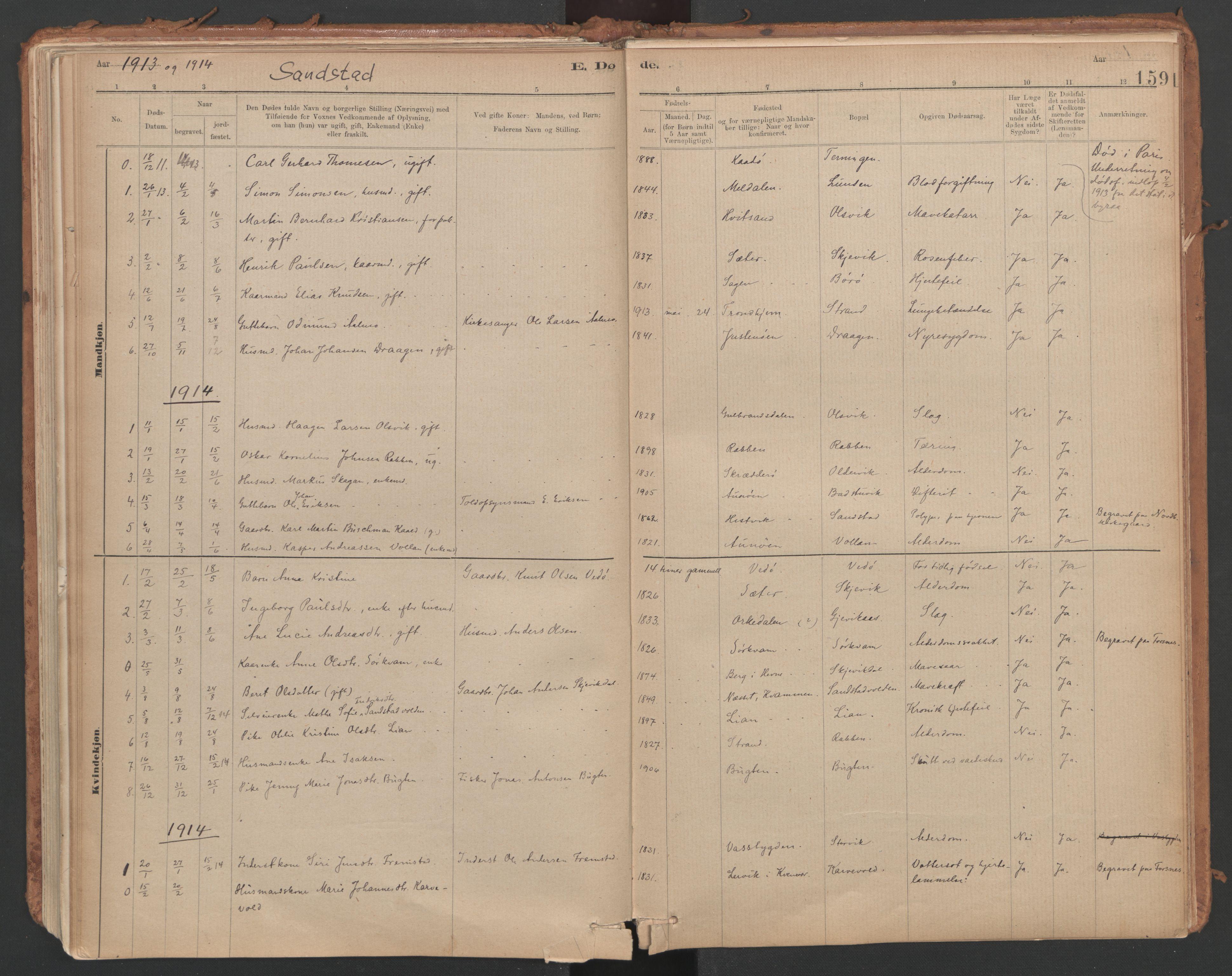 SAT, Ministerialprotokoller, klokkerbøker og fødselsregistre - Sør-Trøndelag, 639/L0572: Ministerialbok nr. 639A01, 1890-1920, s. 159