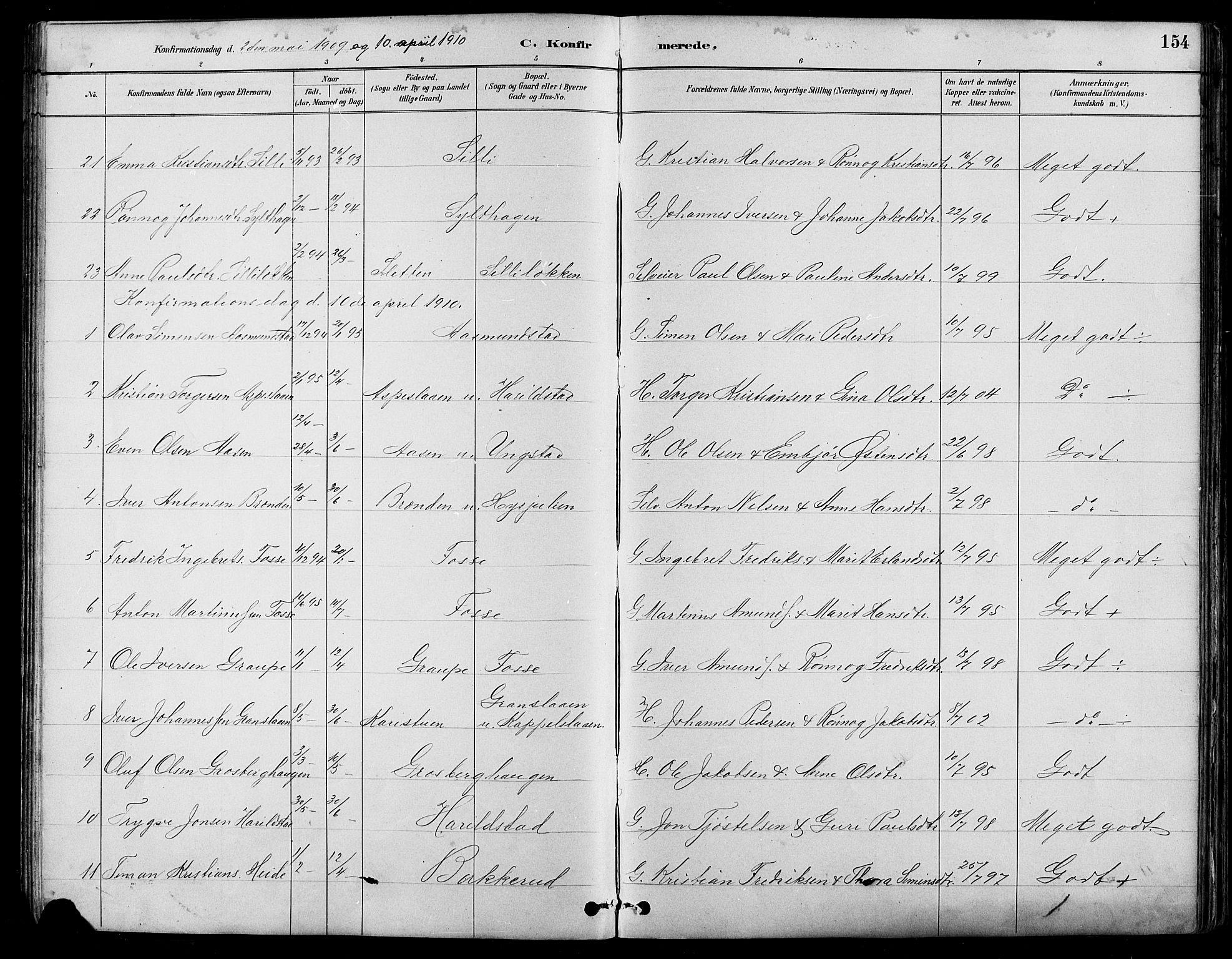 SAH, Nord-Fron prestekontor, Klokkerbok nr. 5, 1884-1914, s. 154