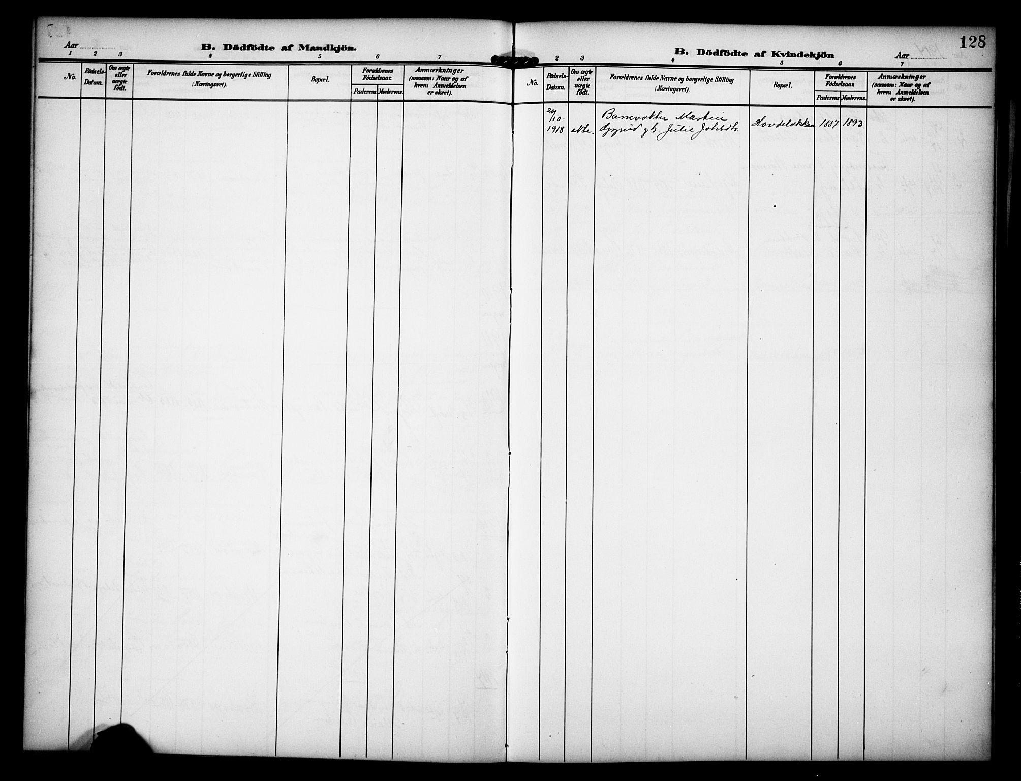 SAH, Dovre prestekontor, Klokkerbok nr. 3, 1907-1929, s. 128