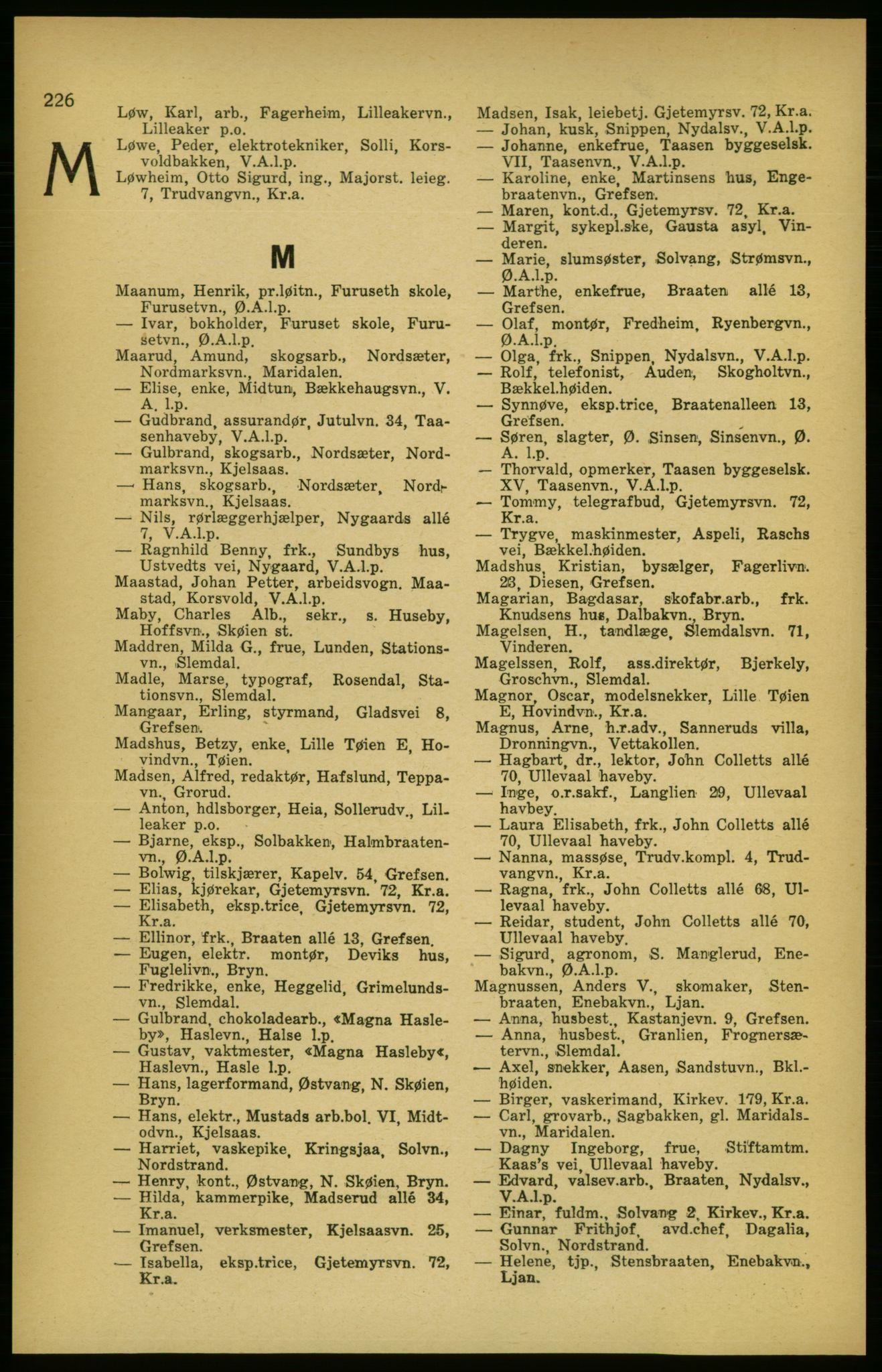 PUBL, Aker adressebok/adressekalender, 1924-1925, s. 226