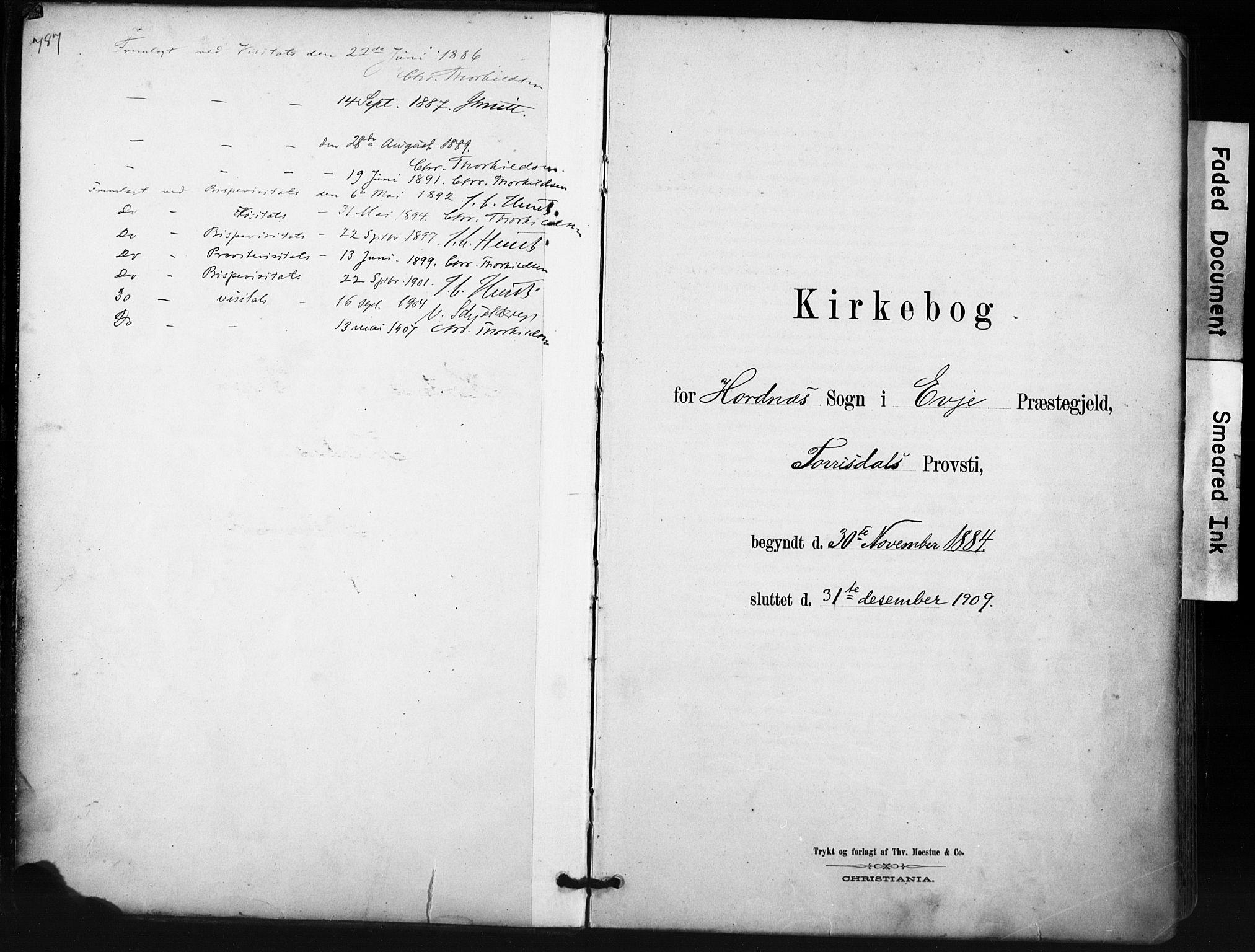 SAK, Evje sokneprestkontor, F/Fa/Fab/L0003: Ministerialbok nr. A 3, 1884-1909