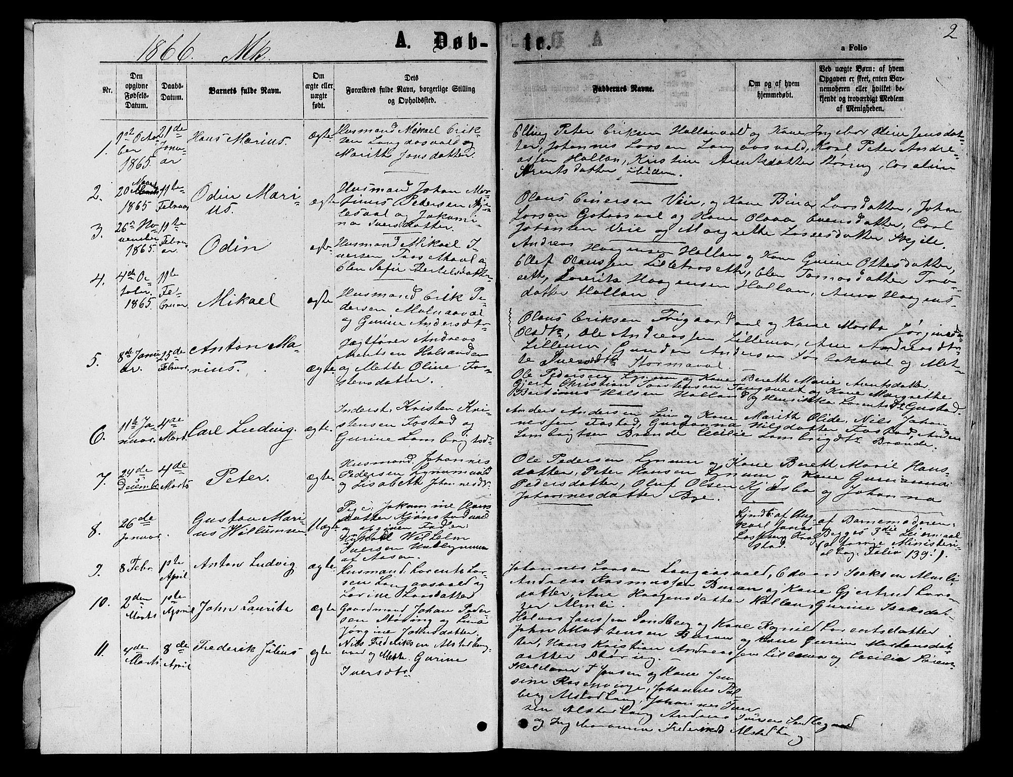 SAT, Ministerialprotokoller, klokkerbøker og fødselsregistre - Nord-Trøndelag, 717/L0170: Klokkerbok nr. 717C02, 1866-1866, s. 2